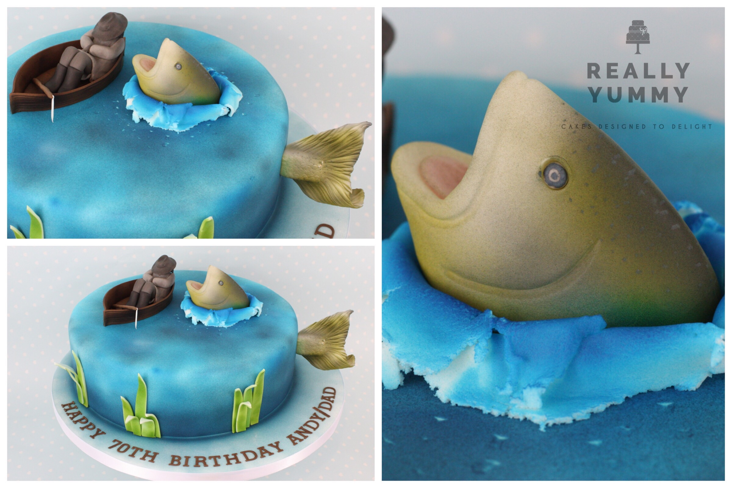 Fishing cake, with salmon and man in boat