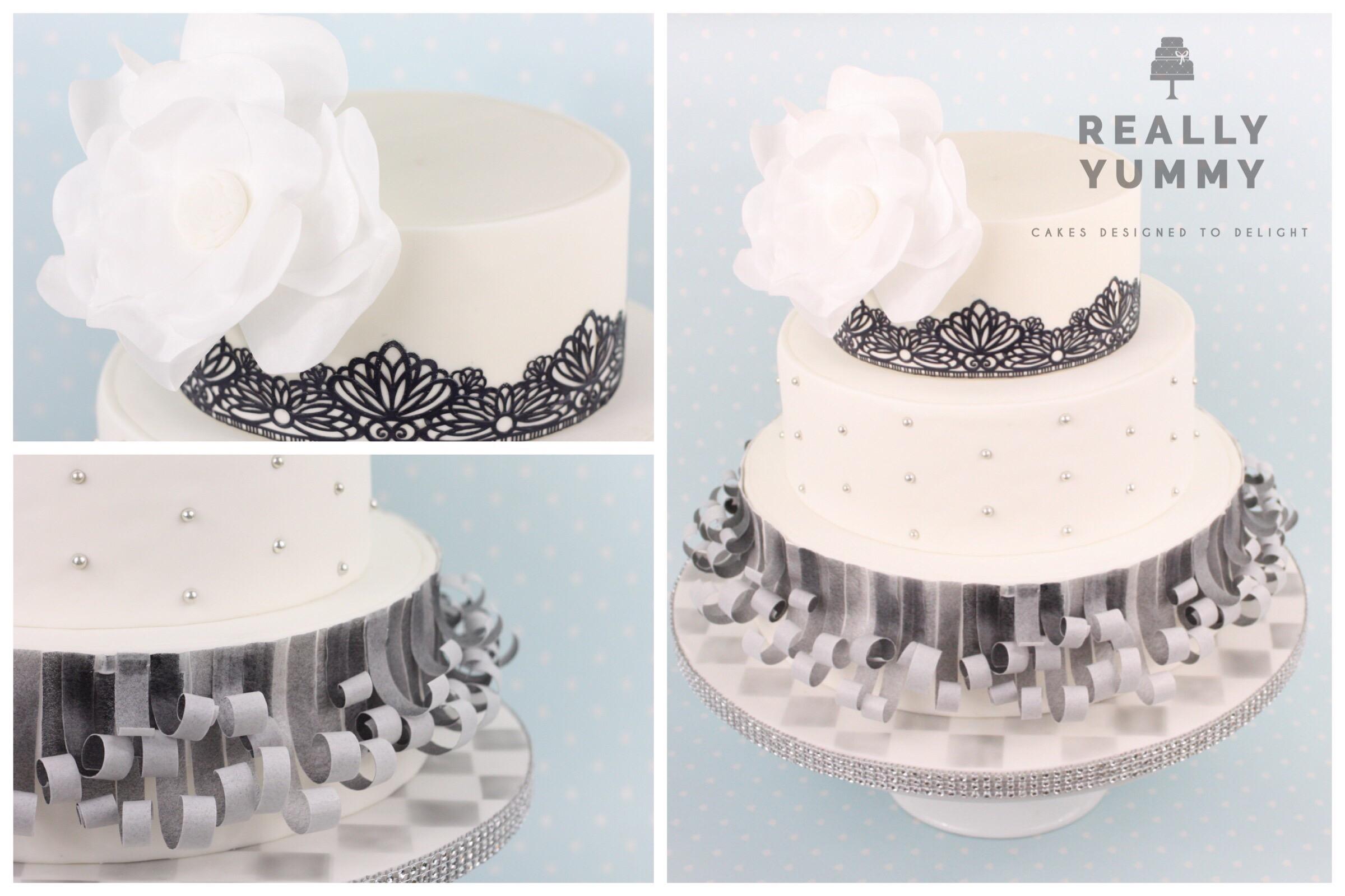 Monochrome cake with sparkle