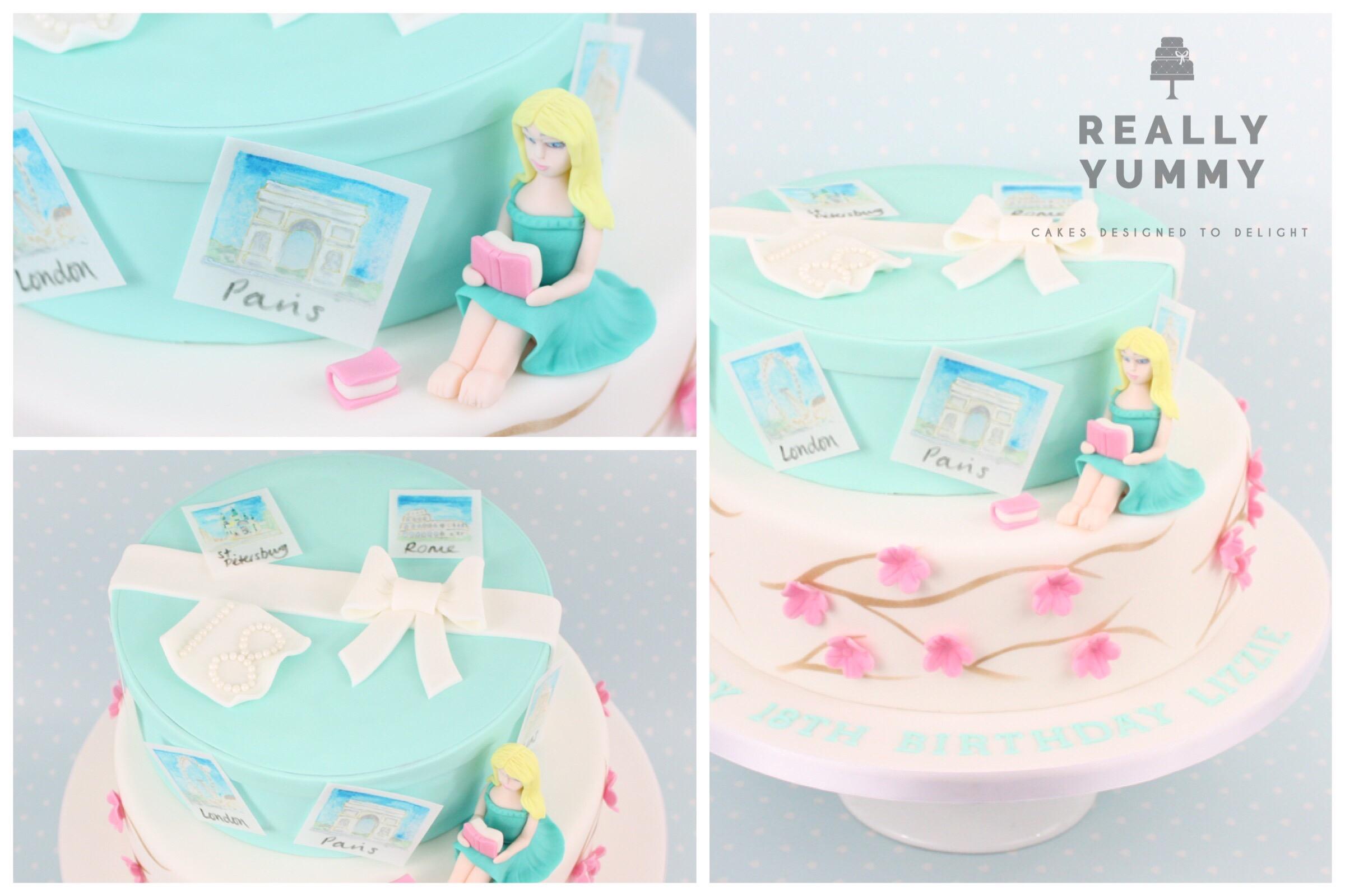 Tiffany, travel and cherry blossom cake
