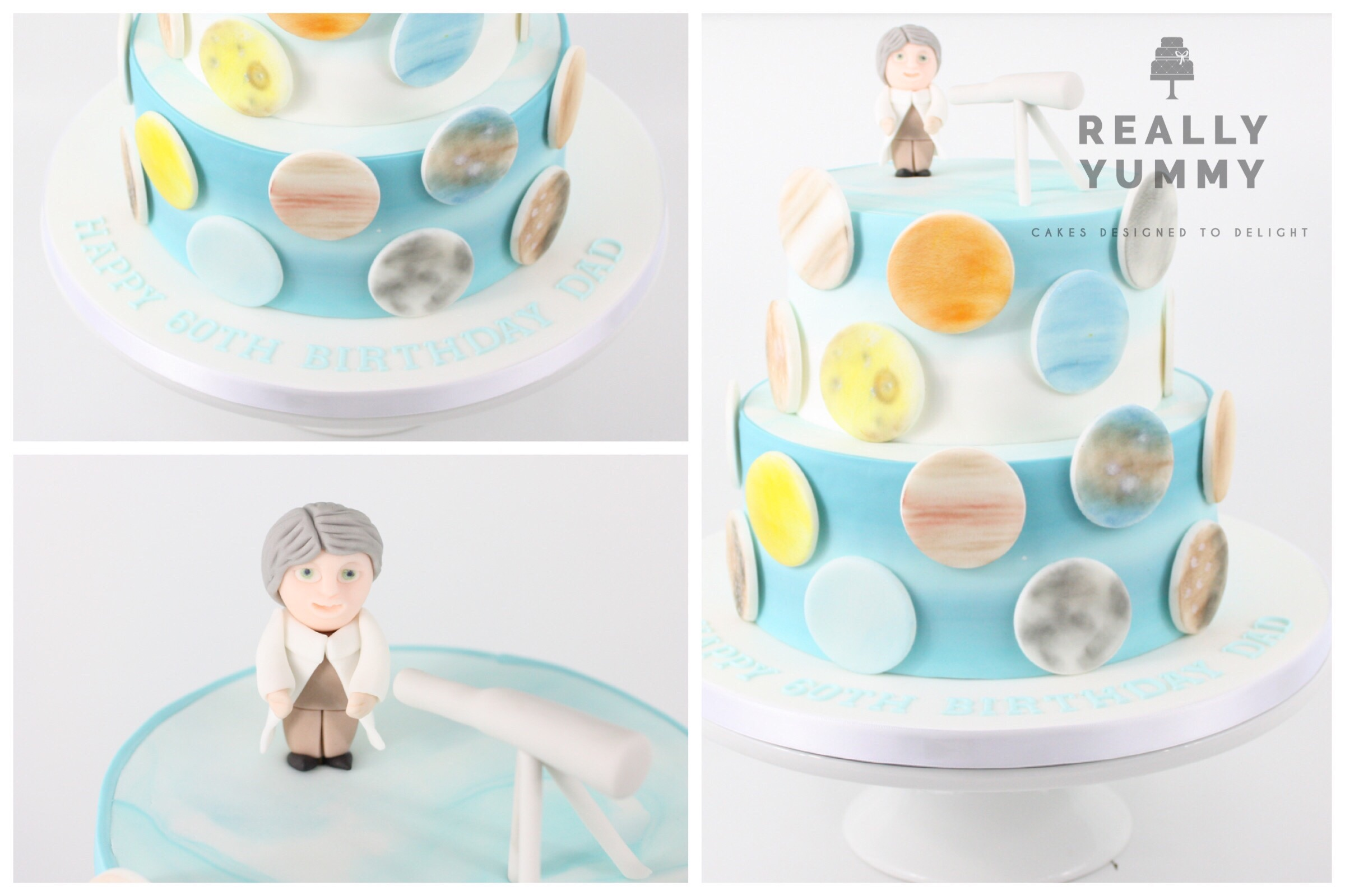 Astronomer's cake with planets and telescope