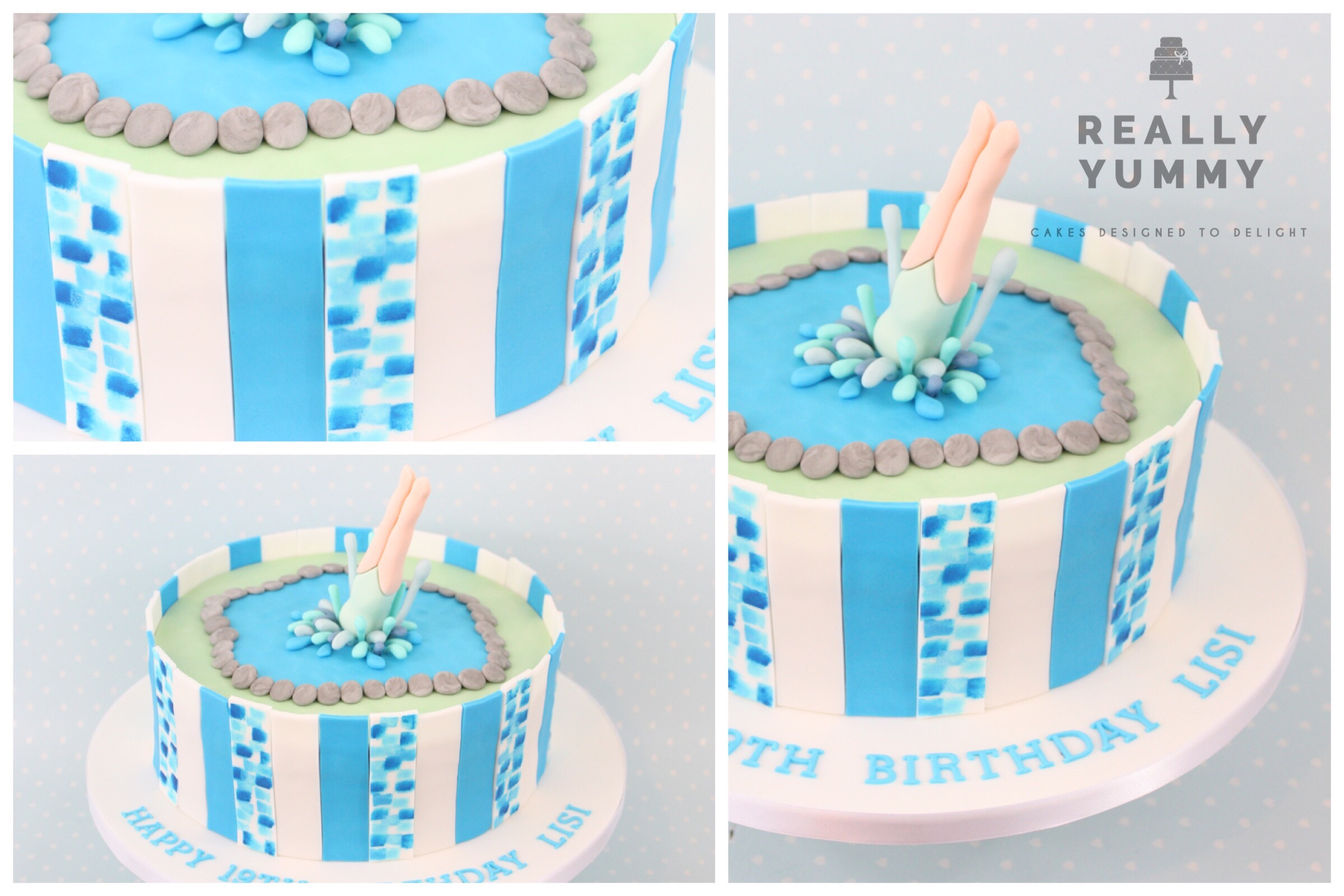 Pool party cake with diving lady