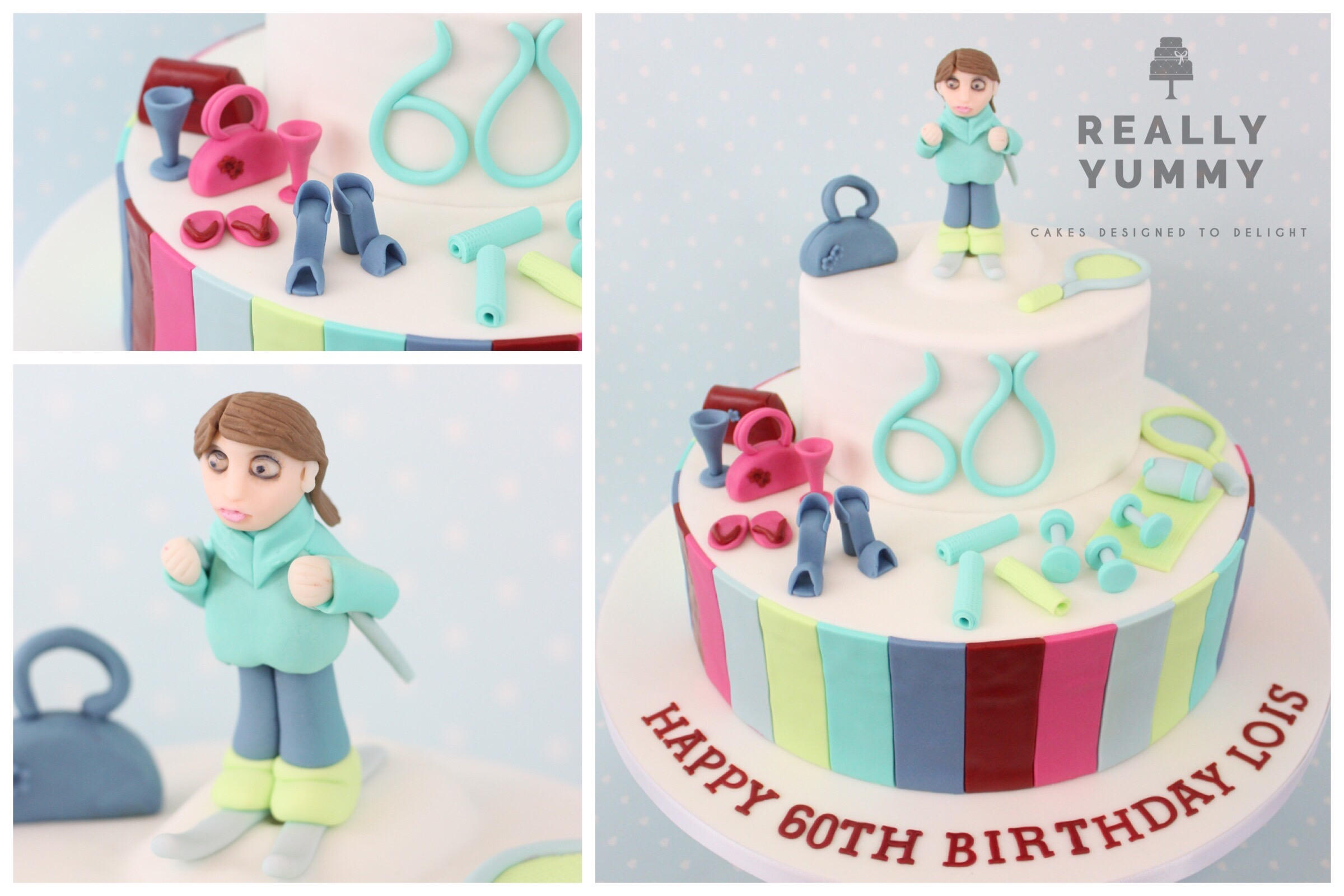 Skiing, fitness and fashion cake