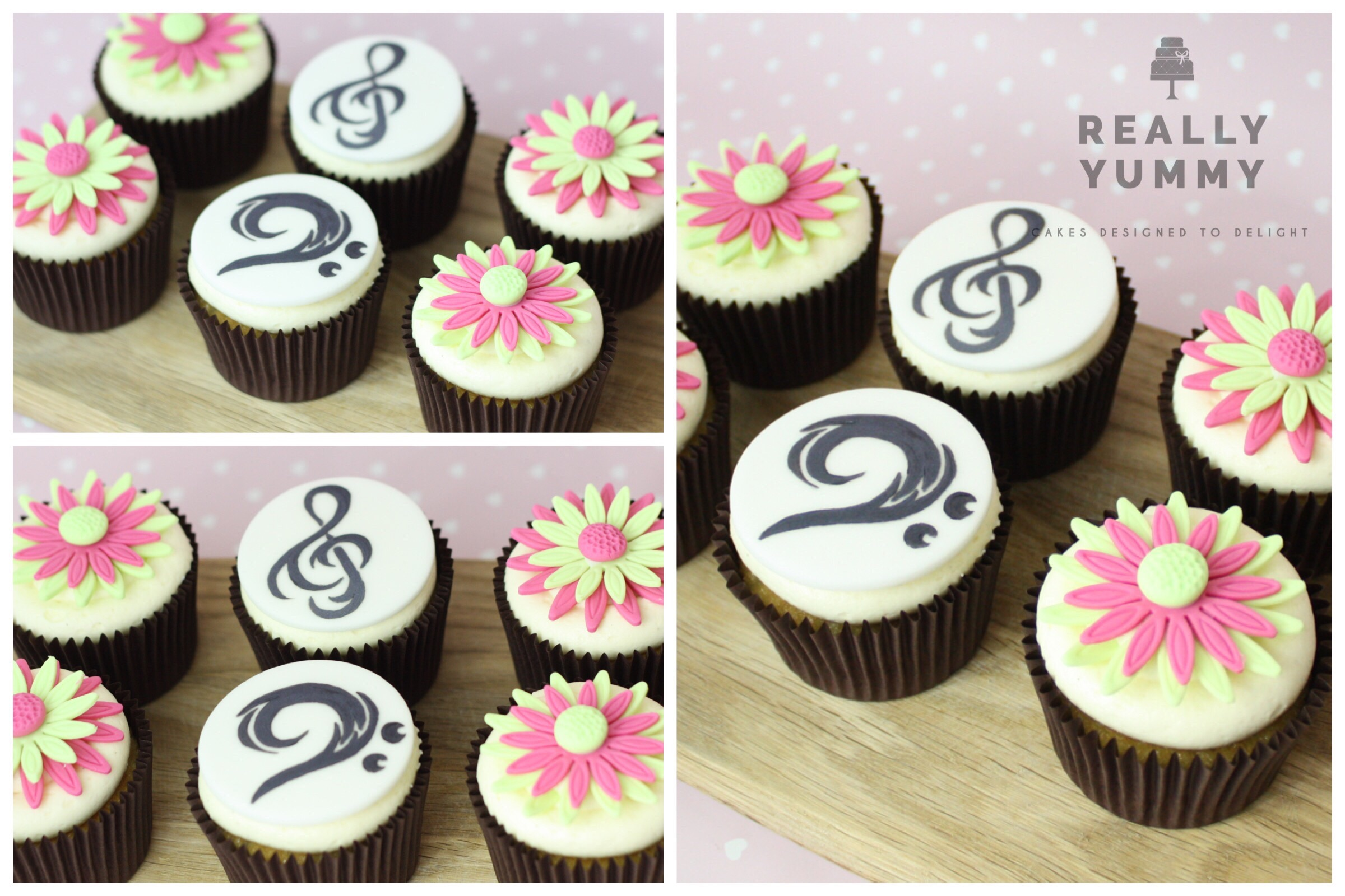 Music and flowers cupcakes