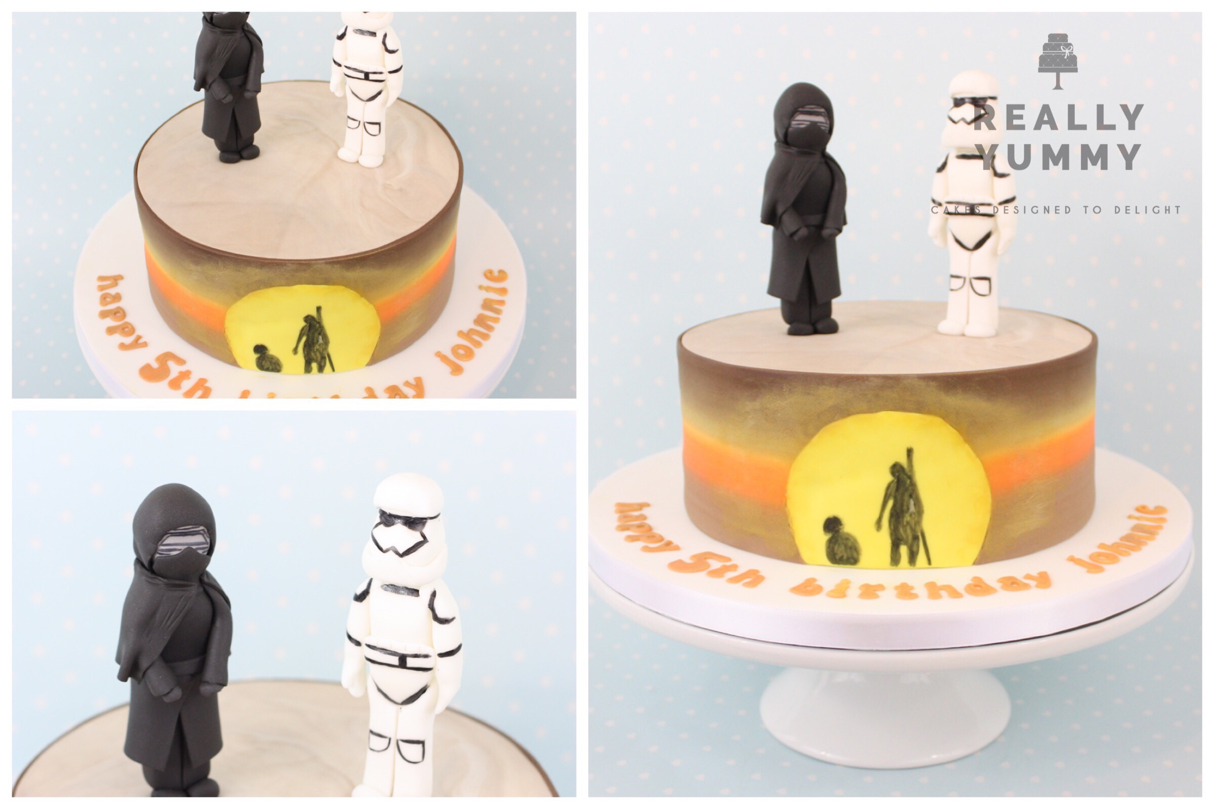 Star Wars cake, with Kylo Ren and Stormtrooper
