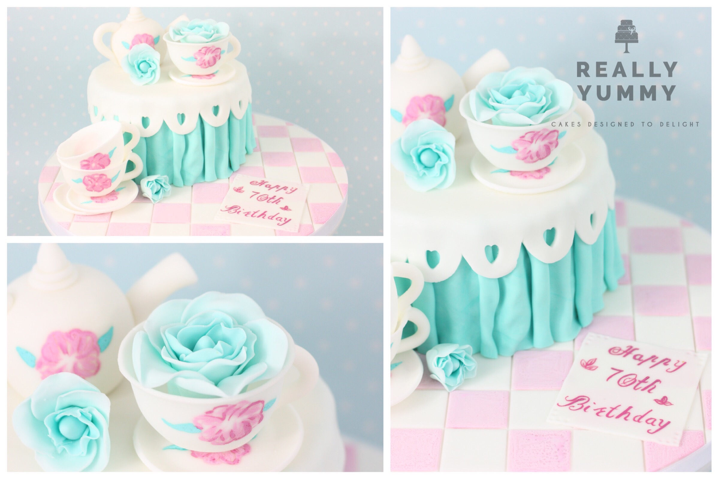 Tea set cake, in pink and teal