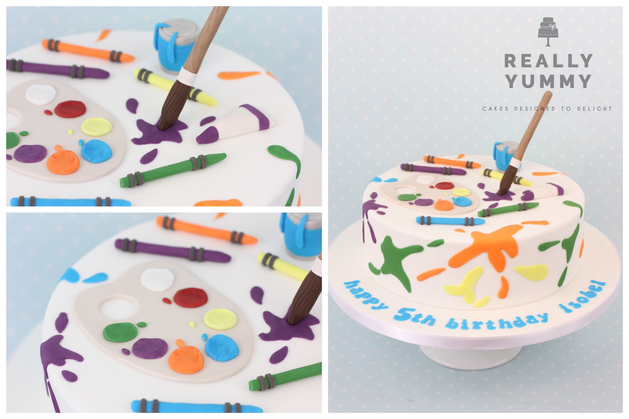 Art cake with paintbrush and paint splats