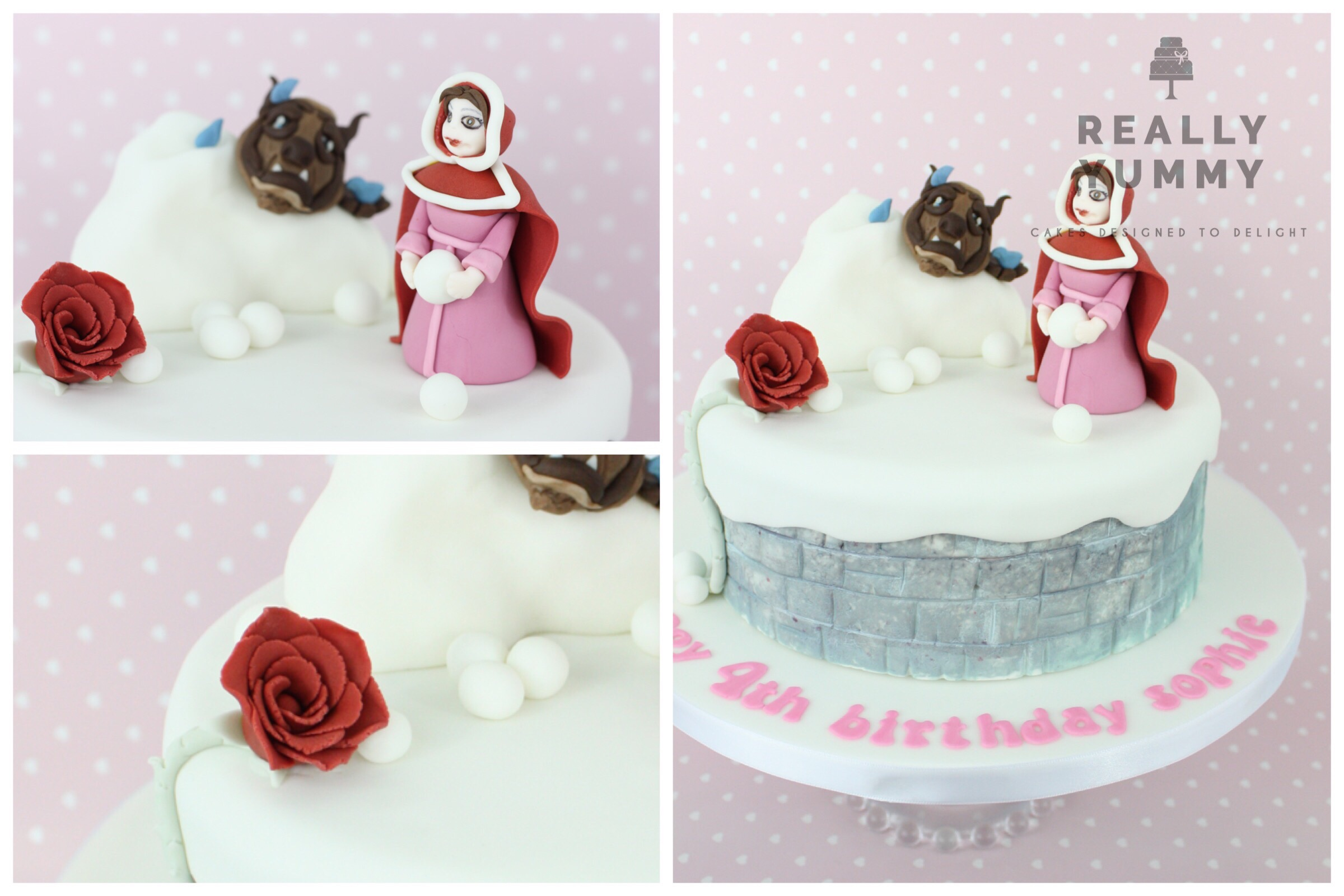 Beauty and the Beast cake with Belle and rose