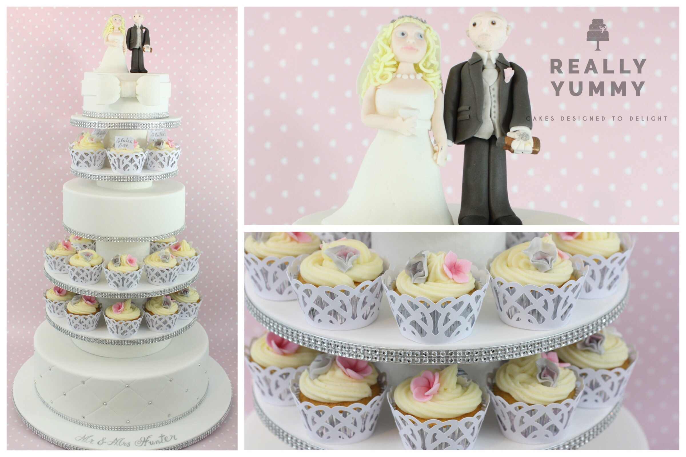Wedding cake and cupcakes tower with bride and groom