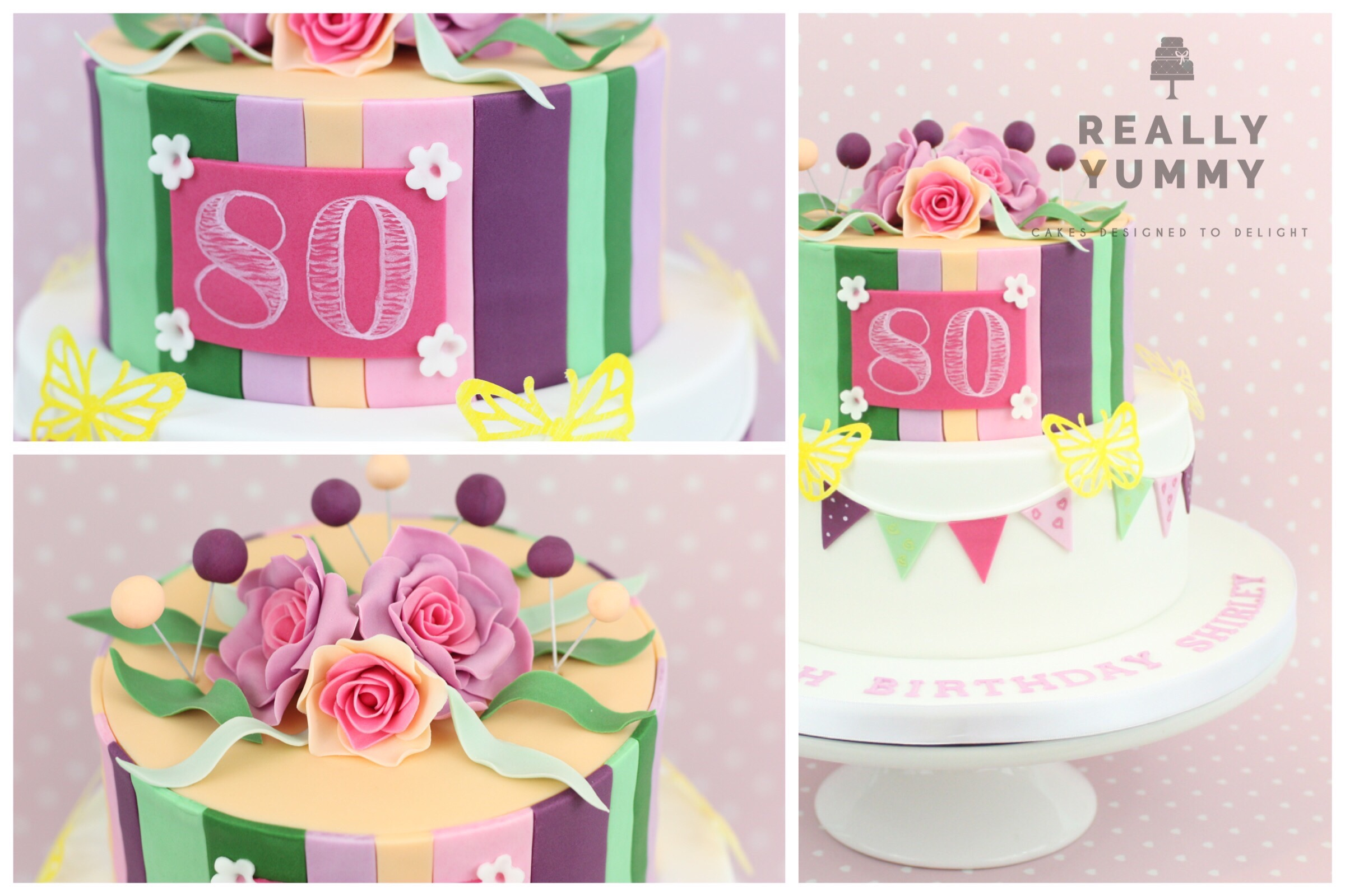 Bunting and flowers 80th birthday cake, in brights