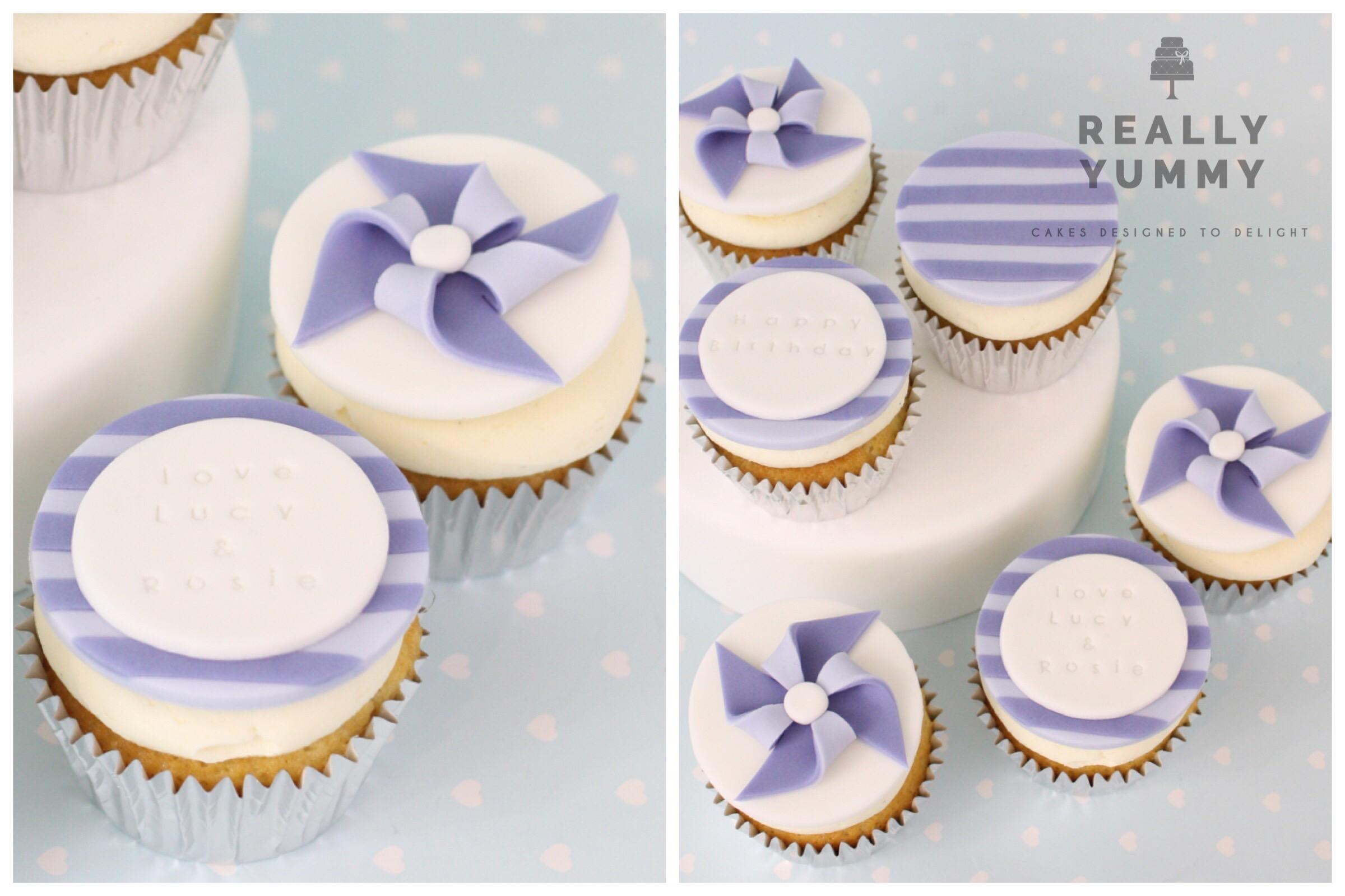 Pinwheel cupcakes in purple