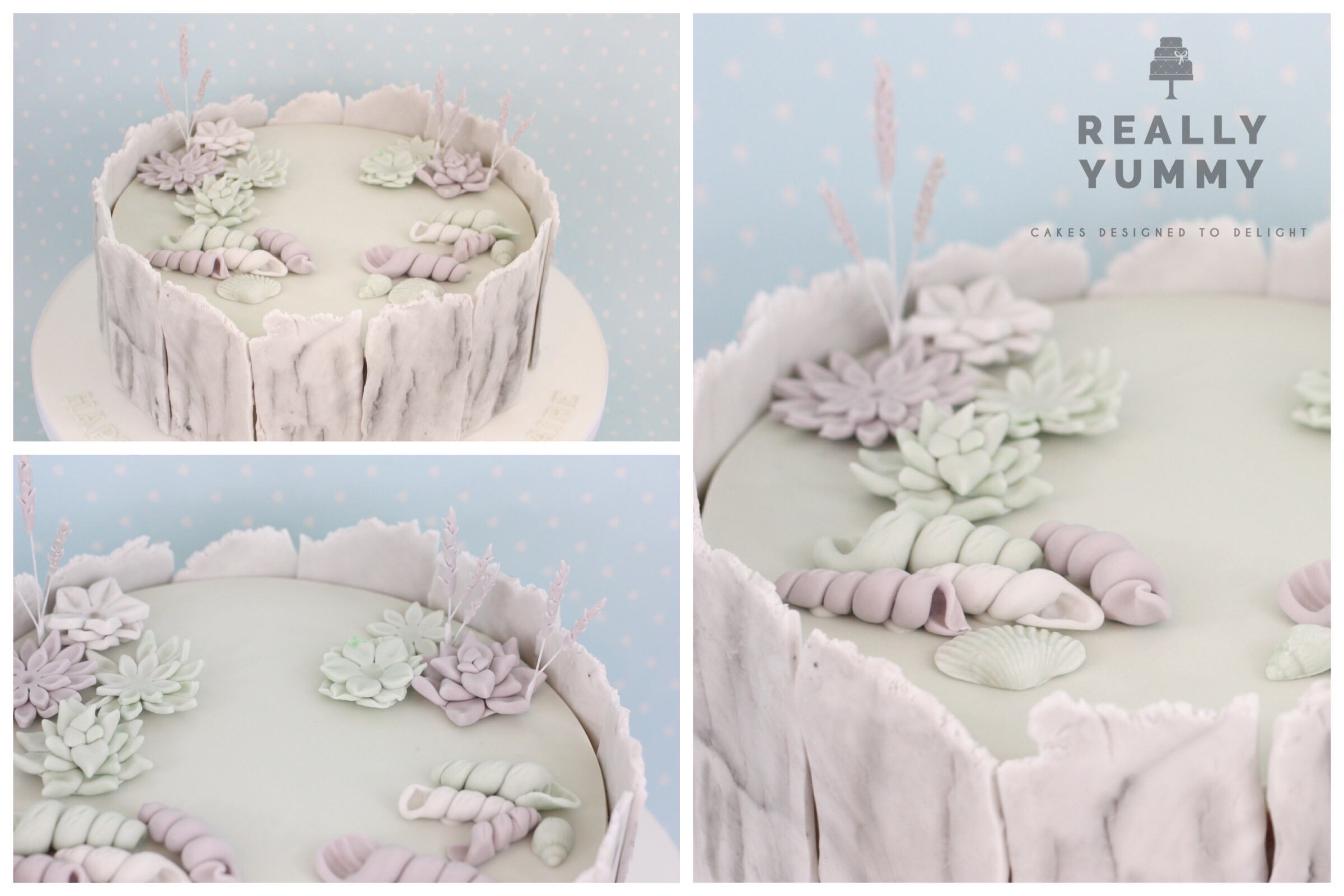 Beach cake, in muted tones with shells