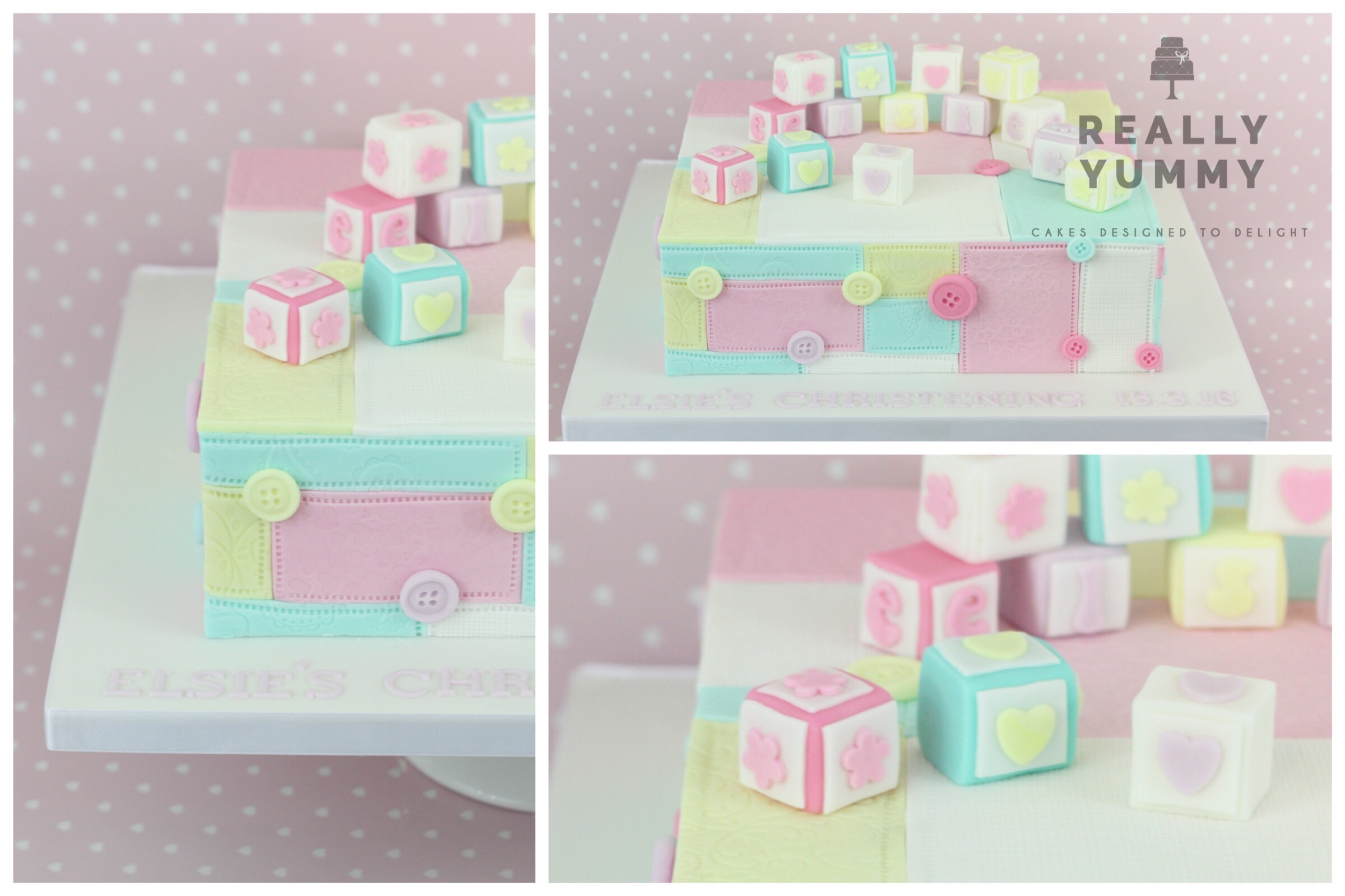 Patchwork Christening cake with baby blocks