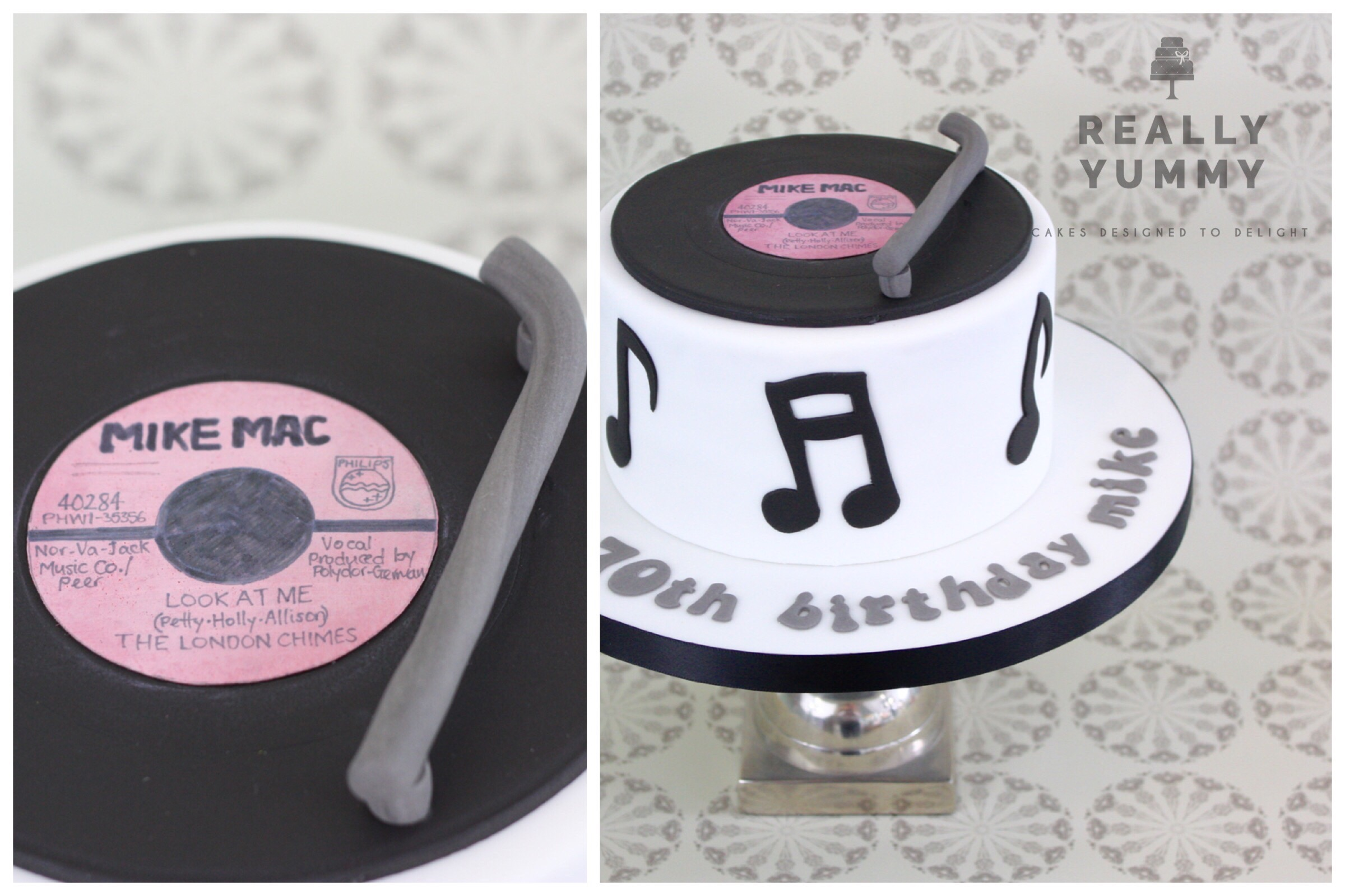 Music cake, with personalised vinyl record