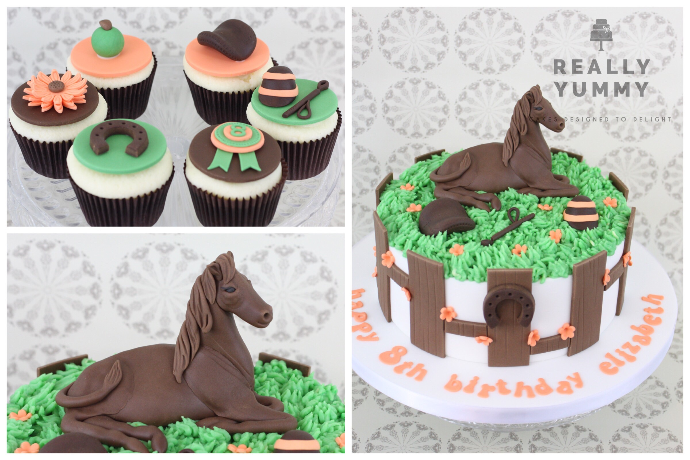 Horse cake and cupcakes