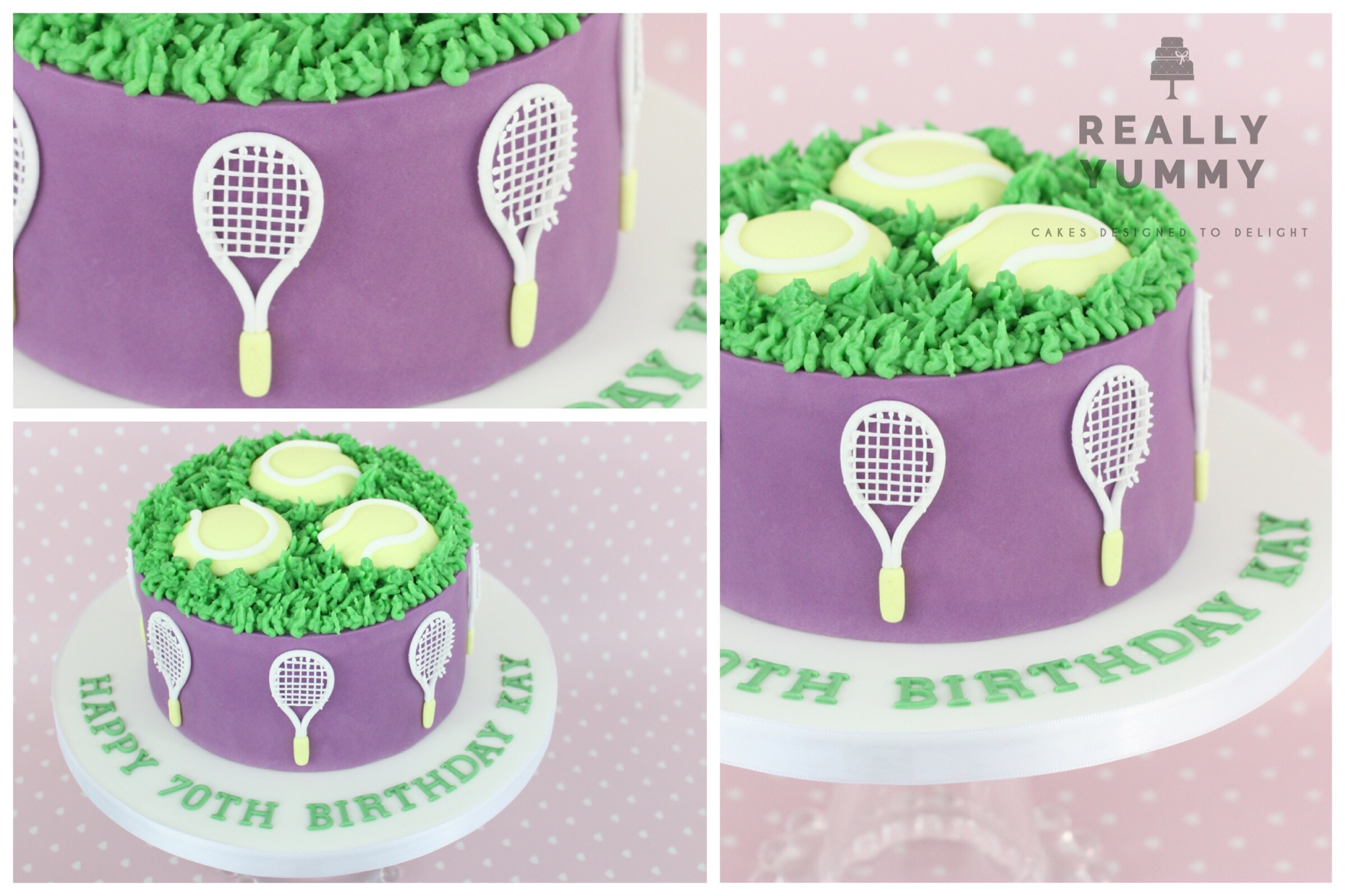 Tennis cake with balls and rackets