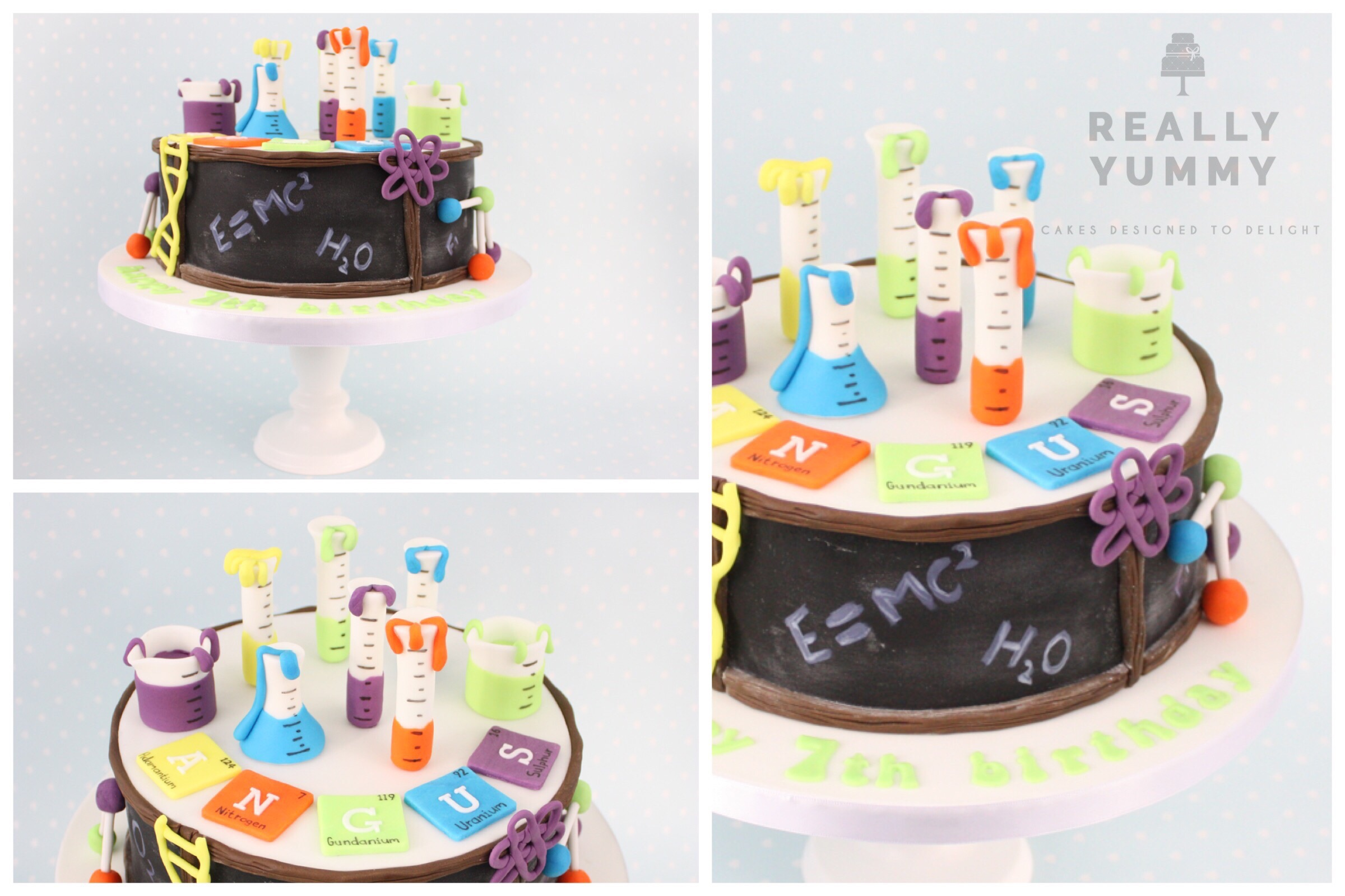 Science cake with test tubes and chemical symbols