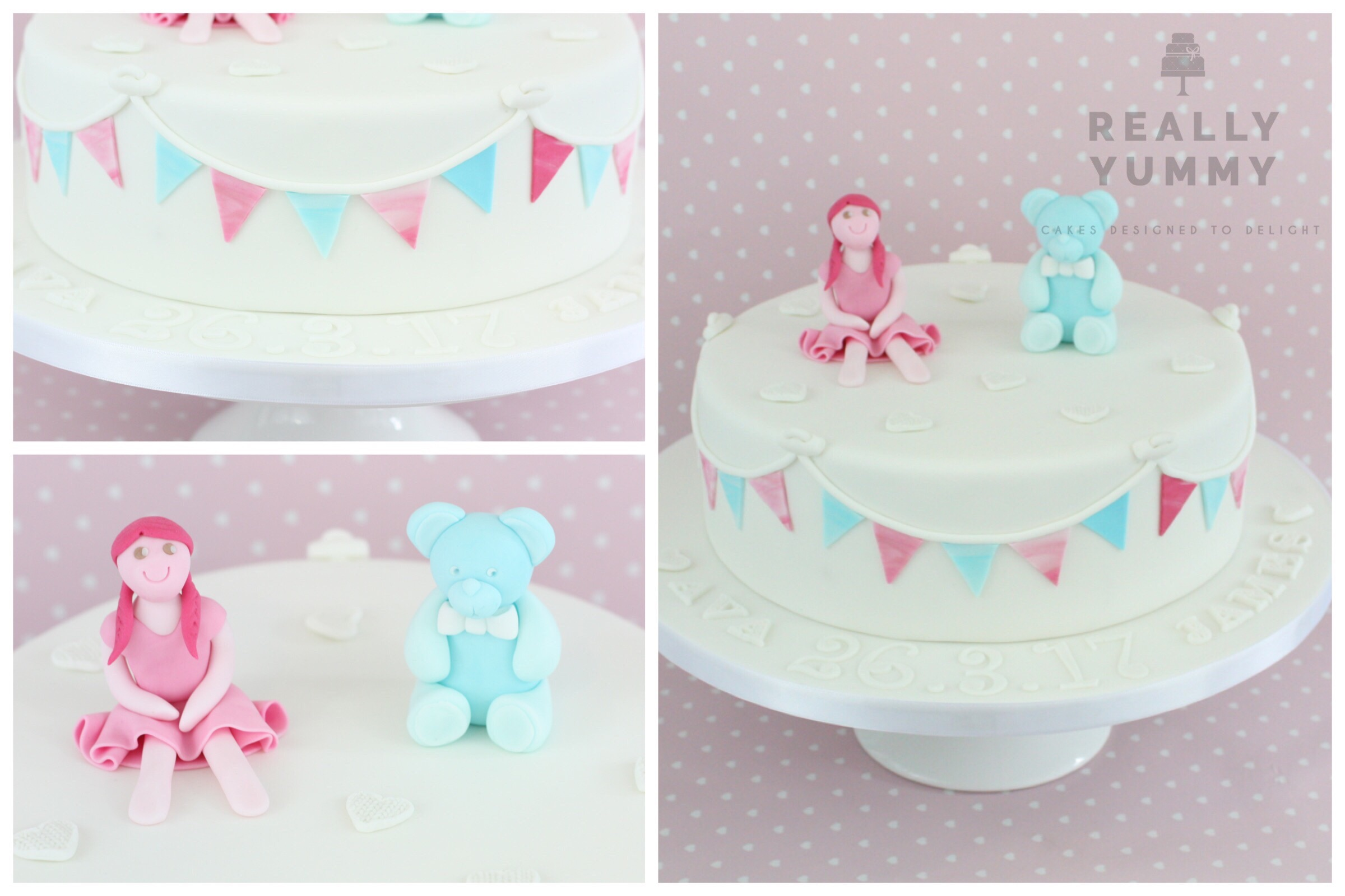 Christening cake, with teddy and rag doll