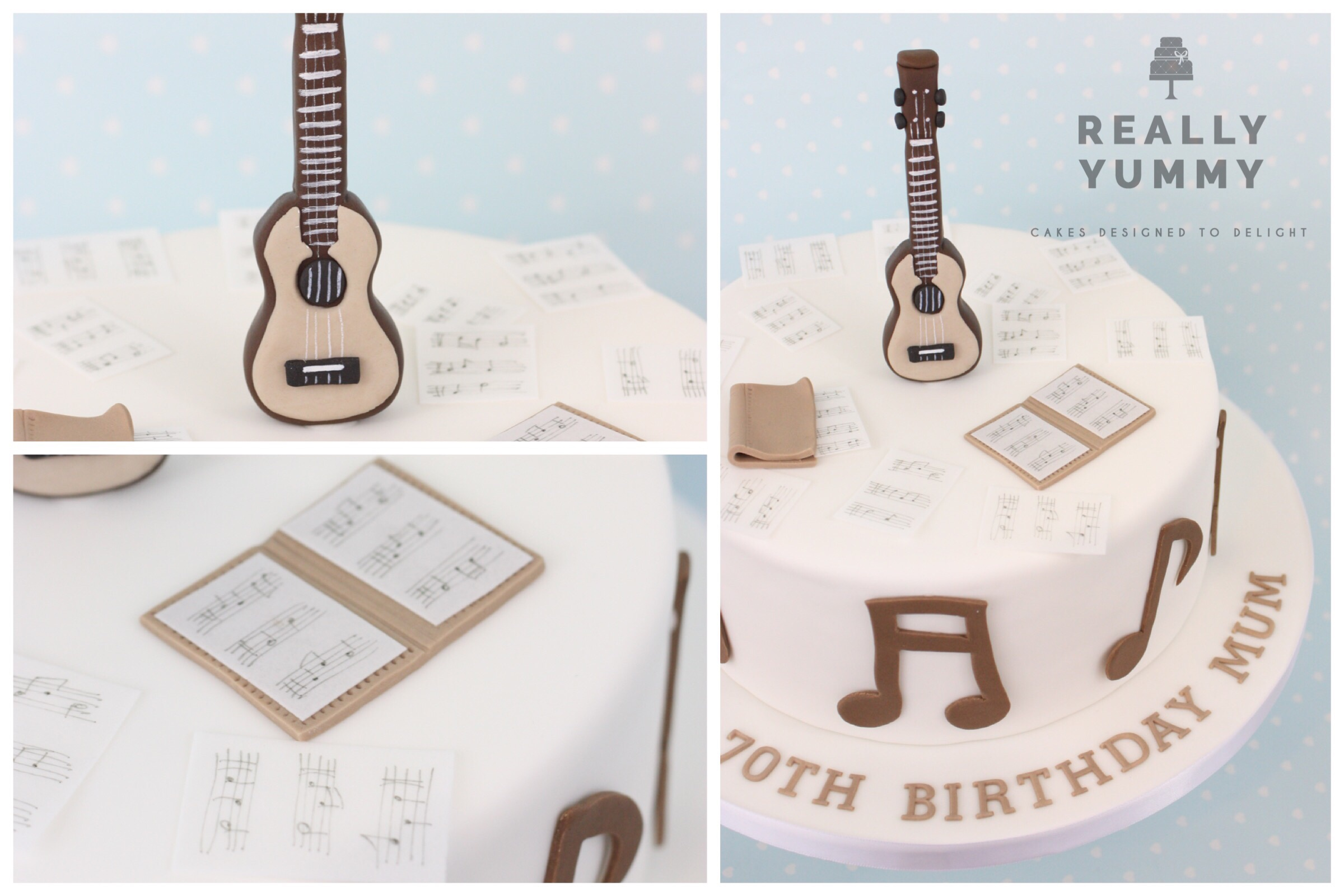 Debbie P. - Many thanks Liz for another fantastic cake! I love it that I can just tell you the occasion and the recipient's hobbies and then collect the perfect cake. The music theme was a big hit and my Mum absolutely loved the ukulele – so clever!