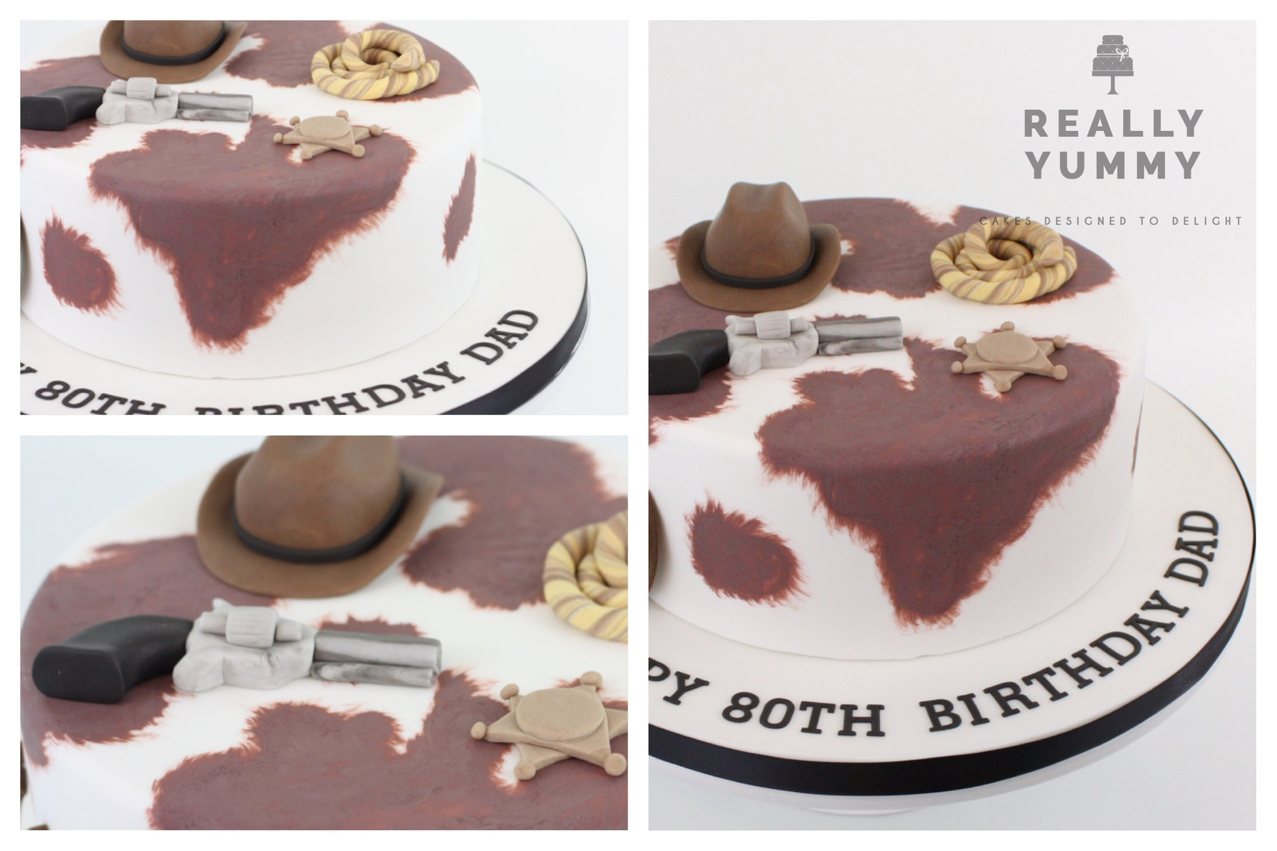 Karen S. - Just wanted to say thank you for the cake you made in the Wild West Theme for my Dad's 80th Birthday, everyone thought it was amazing and it tasted delicious.