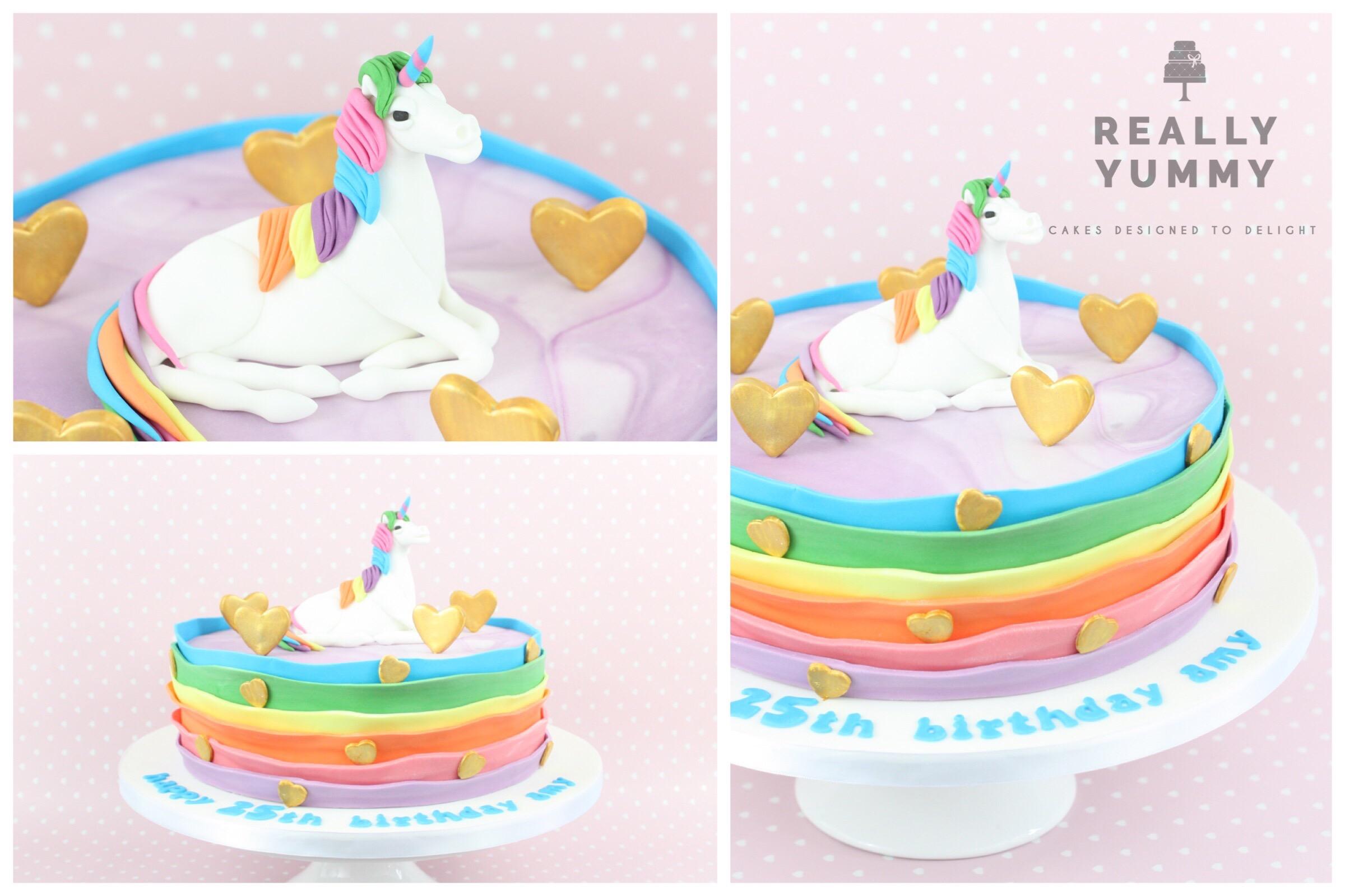 Rainbow unicorn cake, with gold hearts