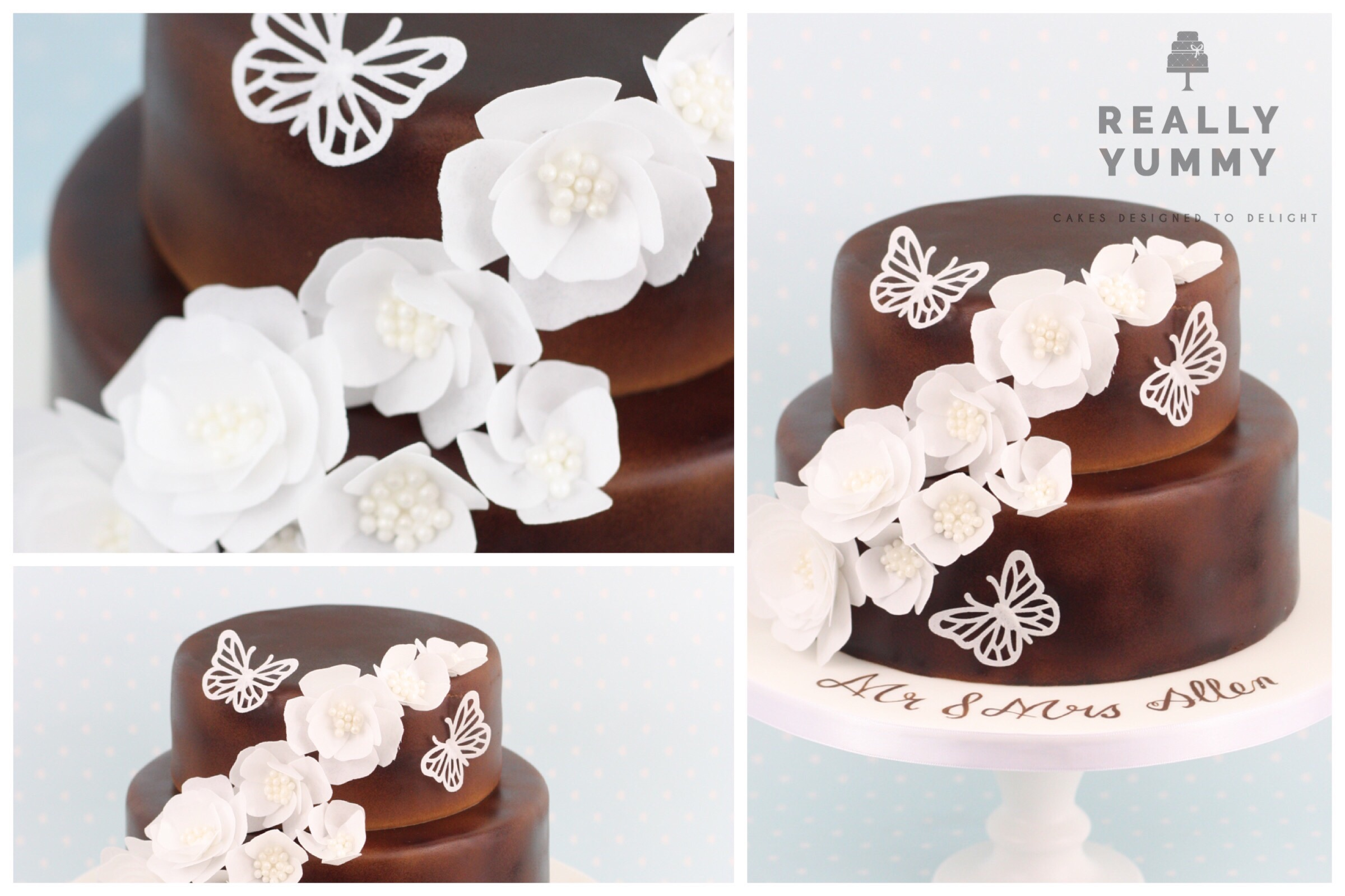 Wedding cake, in brown and white