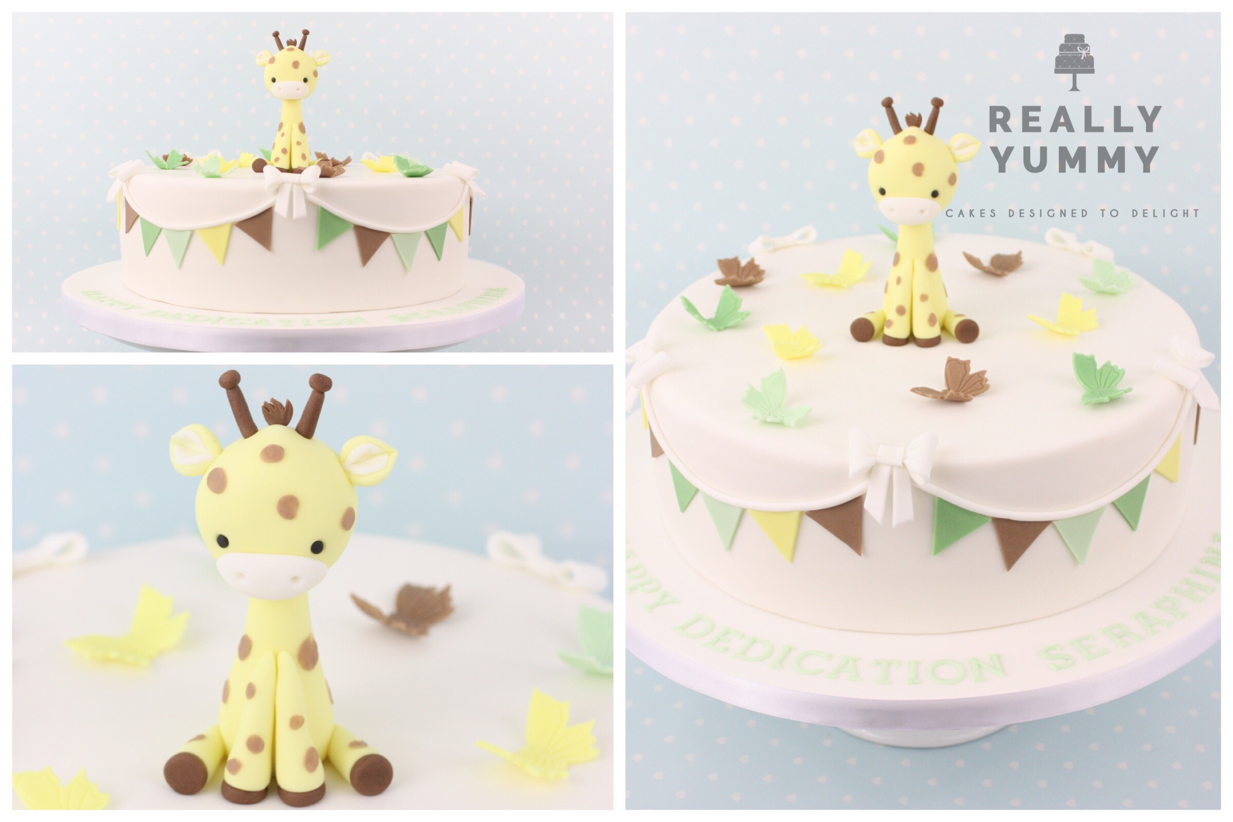 I thought I'd take a wander through some of the cakes I have made for a variety of different ceremonies. This gorgeous little giraffe was for a dedication ceremony, for Seraphina. Such a pretty name, and her Mum had requested no pink, so I added a couple of lovely greens to the giraffe colours, to create this palette.