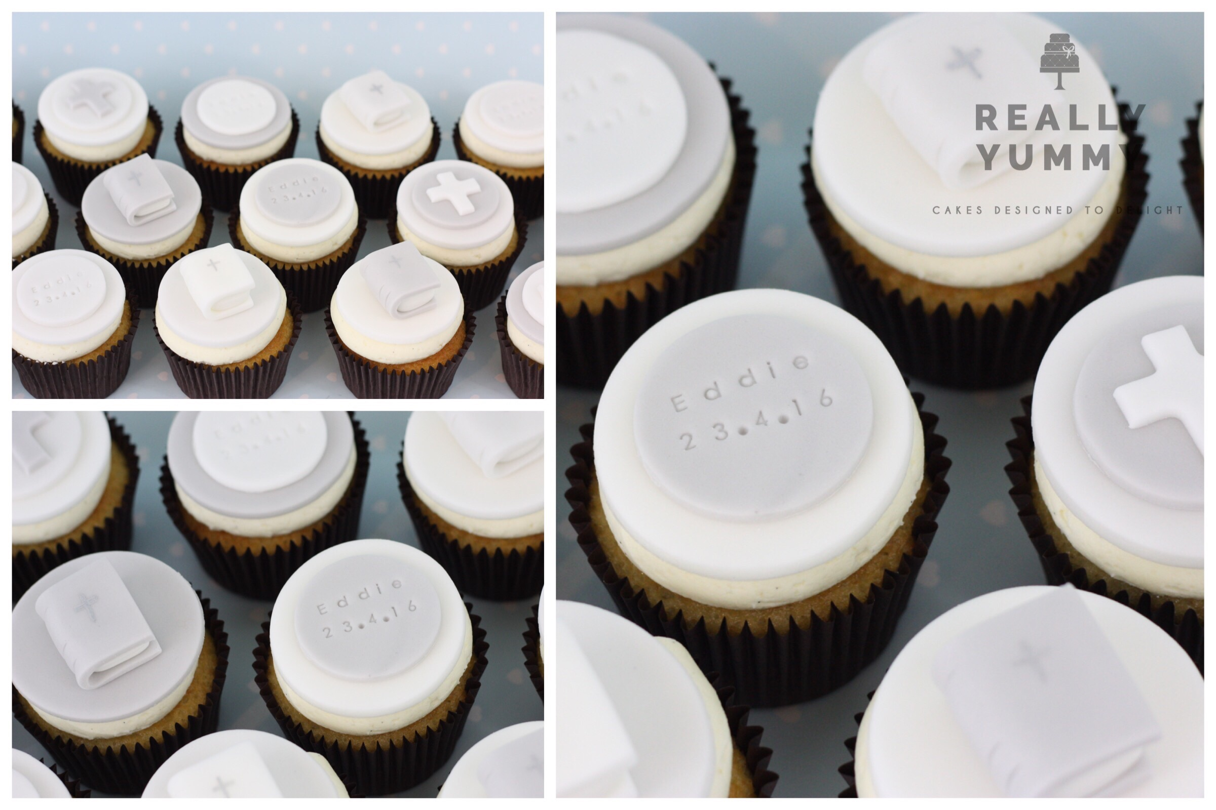 Even older this time, and a big set of Confirmation cupcakes, in vanilla. With Eddie's name and the date.
