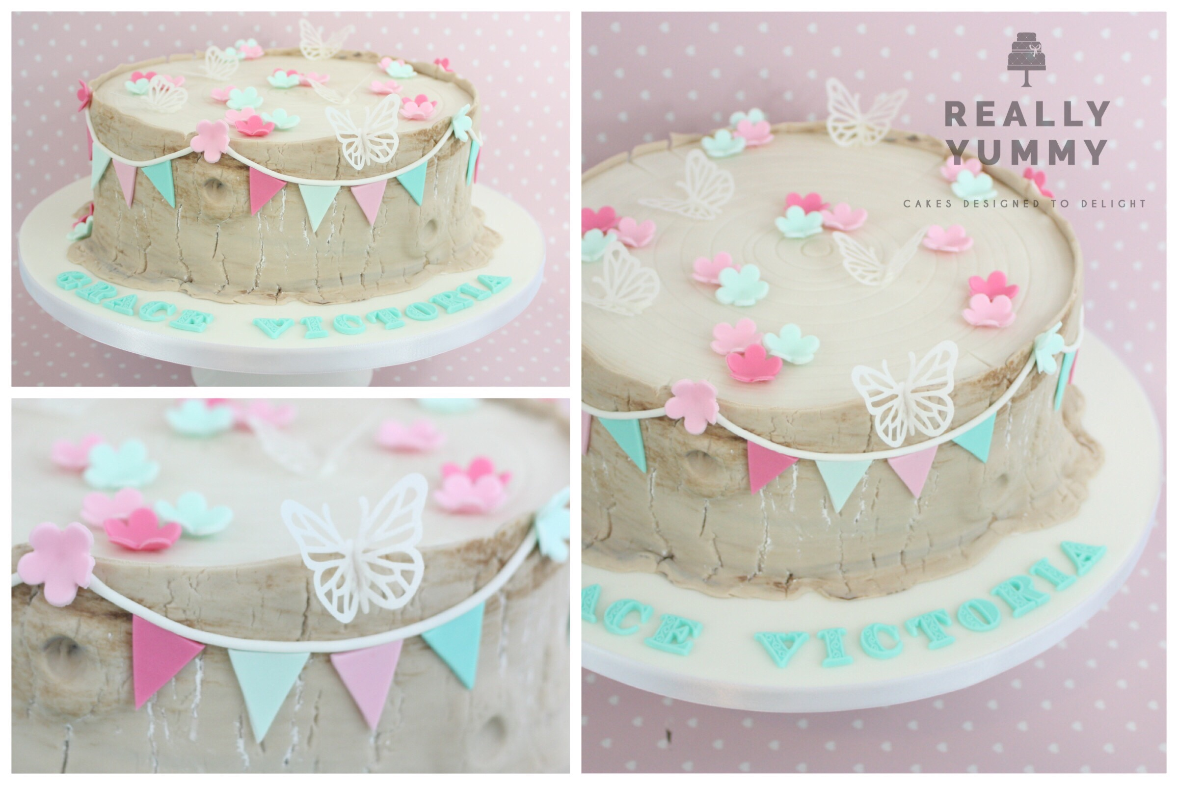 This gorgeous cake was for Grace, and included pretty bunting, flowers and rice paper butterflies. Such a sweet effect overall.
