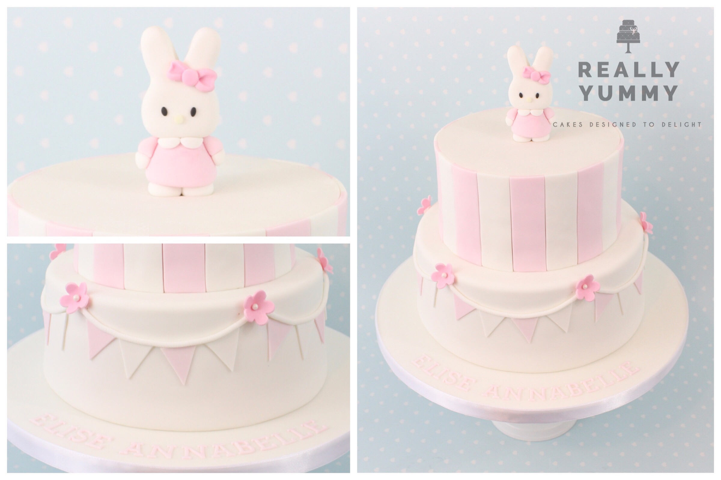 The cute little bunny Miffy, in pink and white with bunting, was a great choice for this Christening cake - such cuteness!