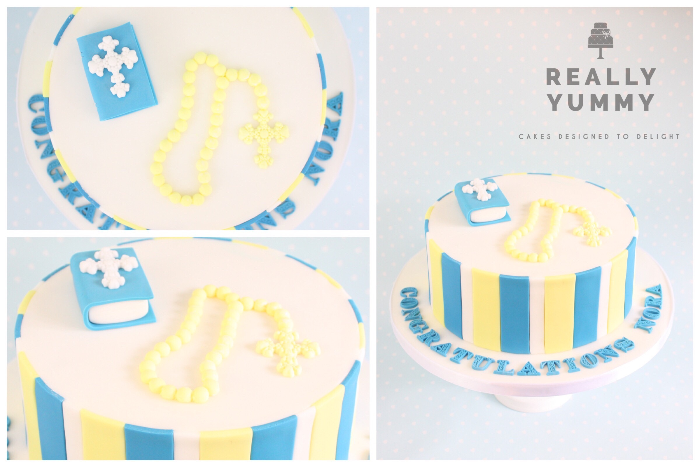 This cake was so much fun. I was asked to create it in the Oxford United colours, for a girl who was so much more into football than wearing white Communion dresses! Hope it helped....