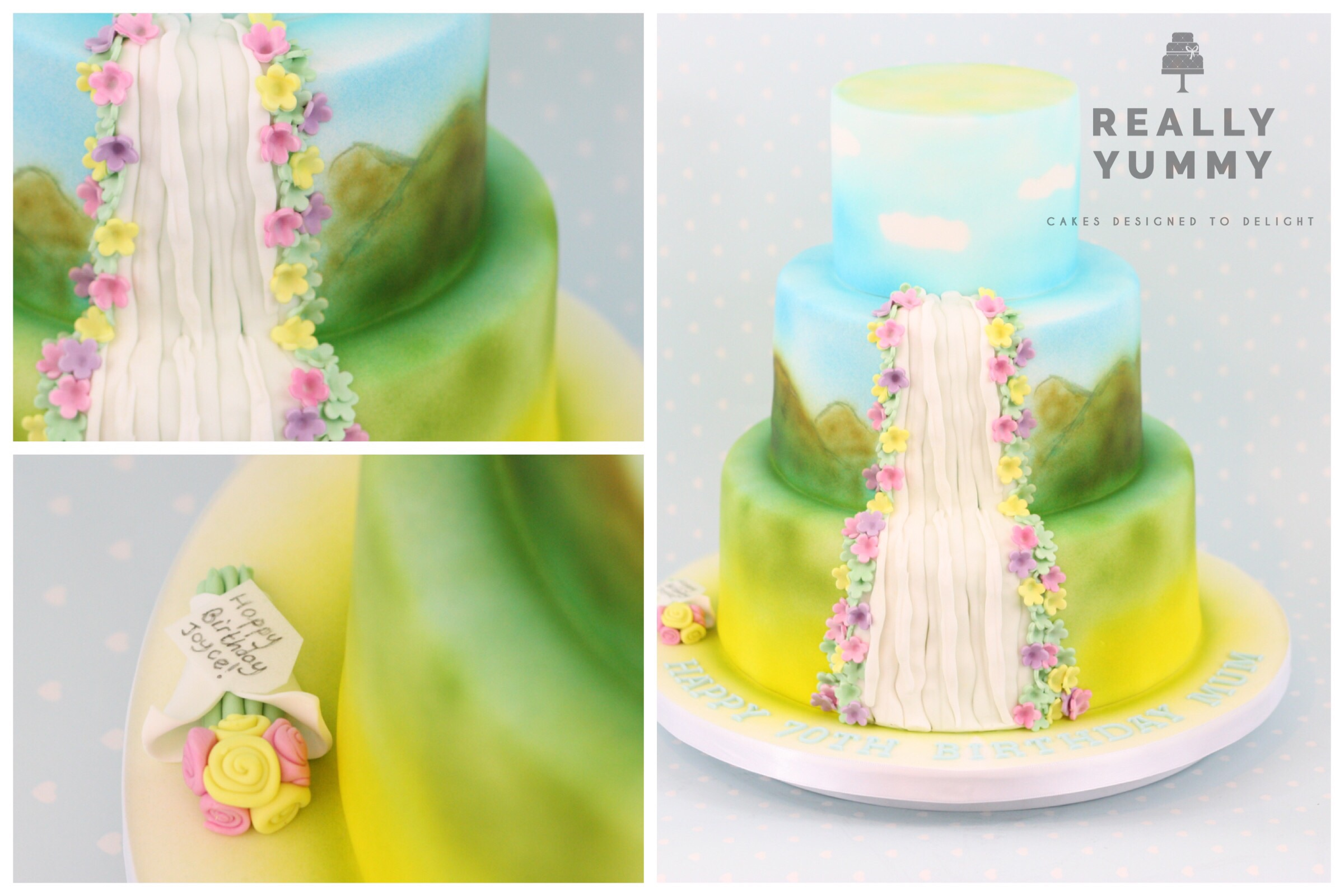 Waterfall cake, with hand-painted scenery