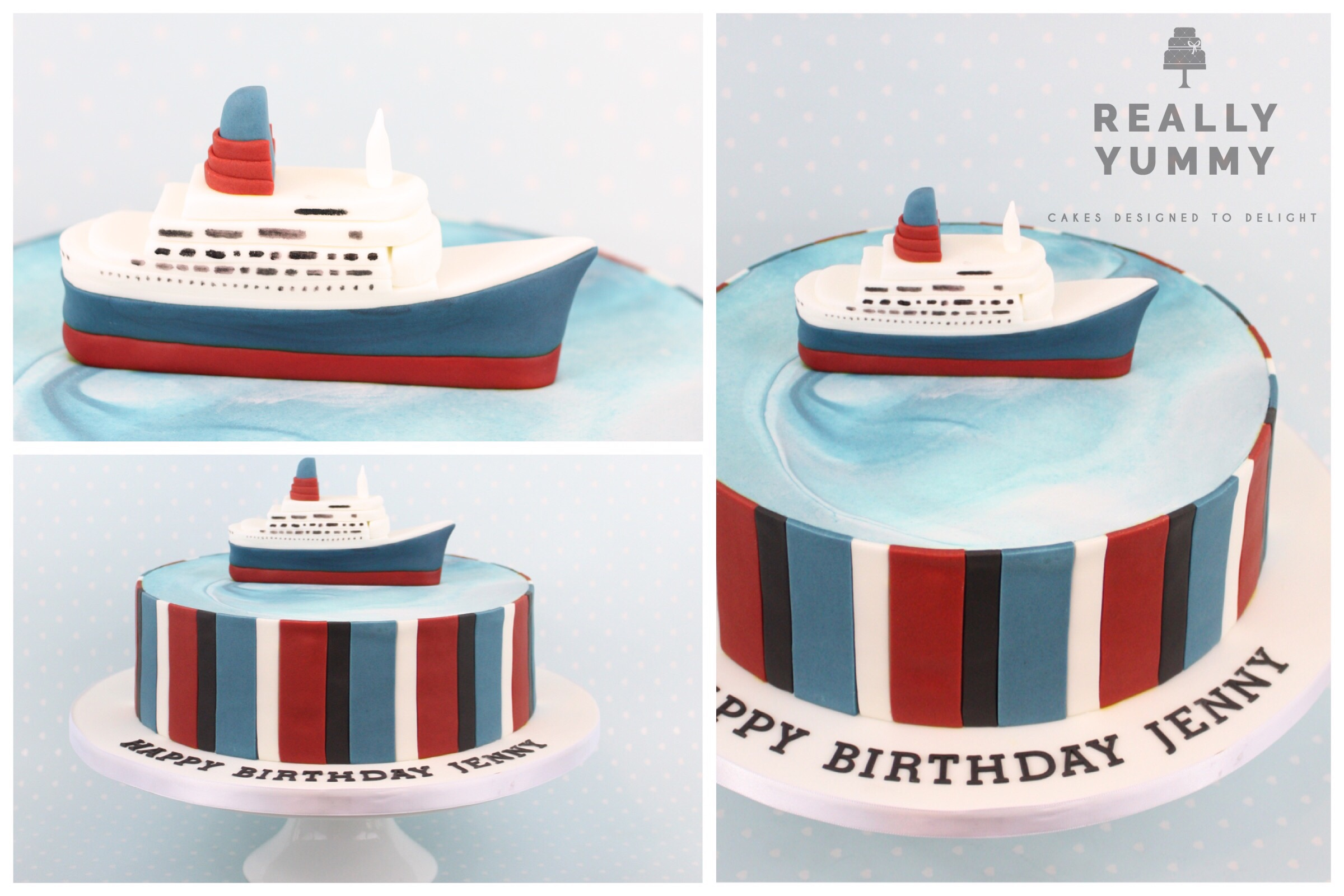 QE2 cake, with co-ordinating stripes