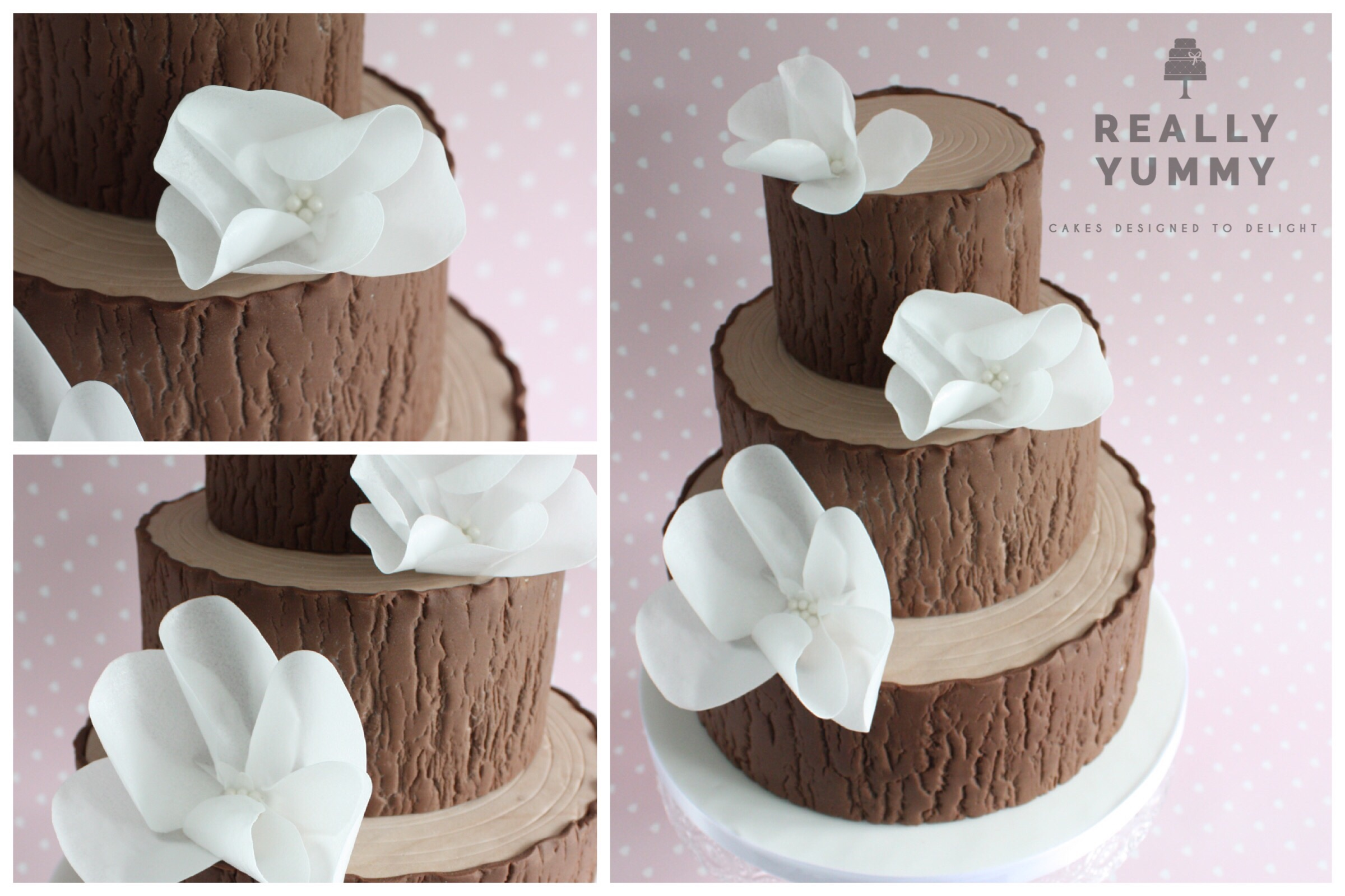 Three tier woodland cake, with white flowers