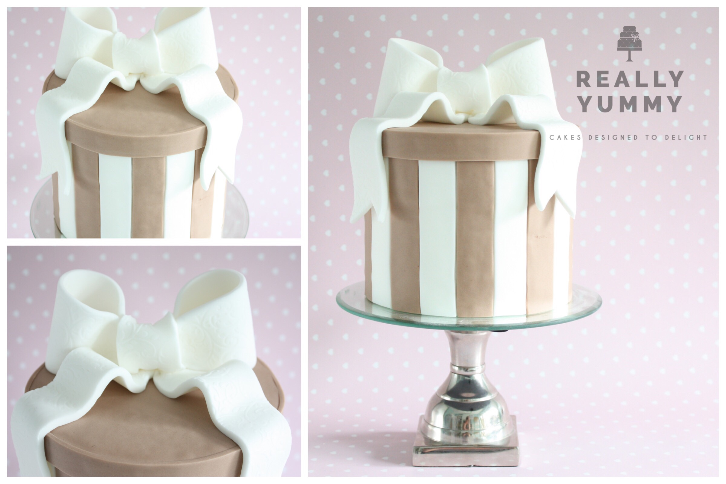 Striped cake with a bow, in neutrals