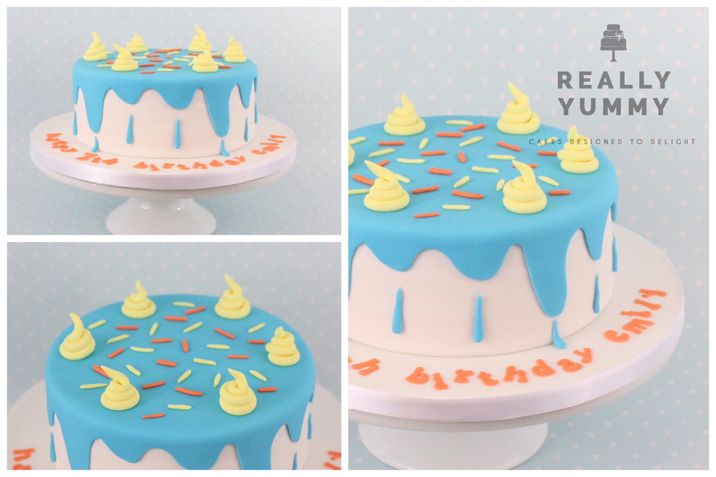 Drip cake, in funky colours