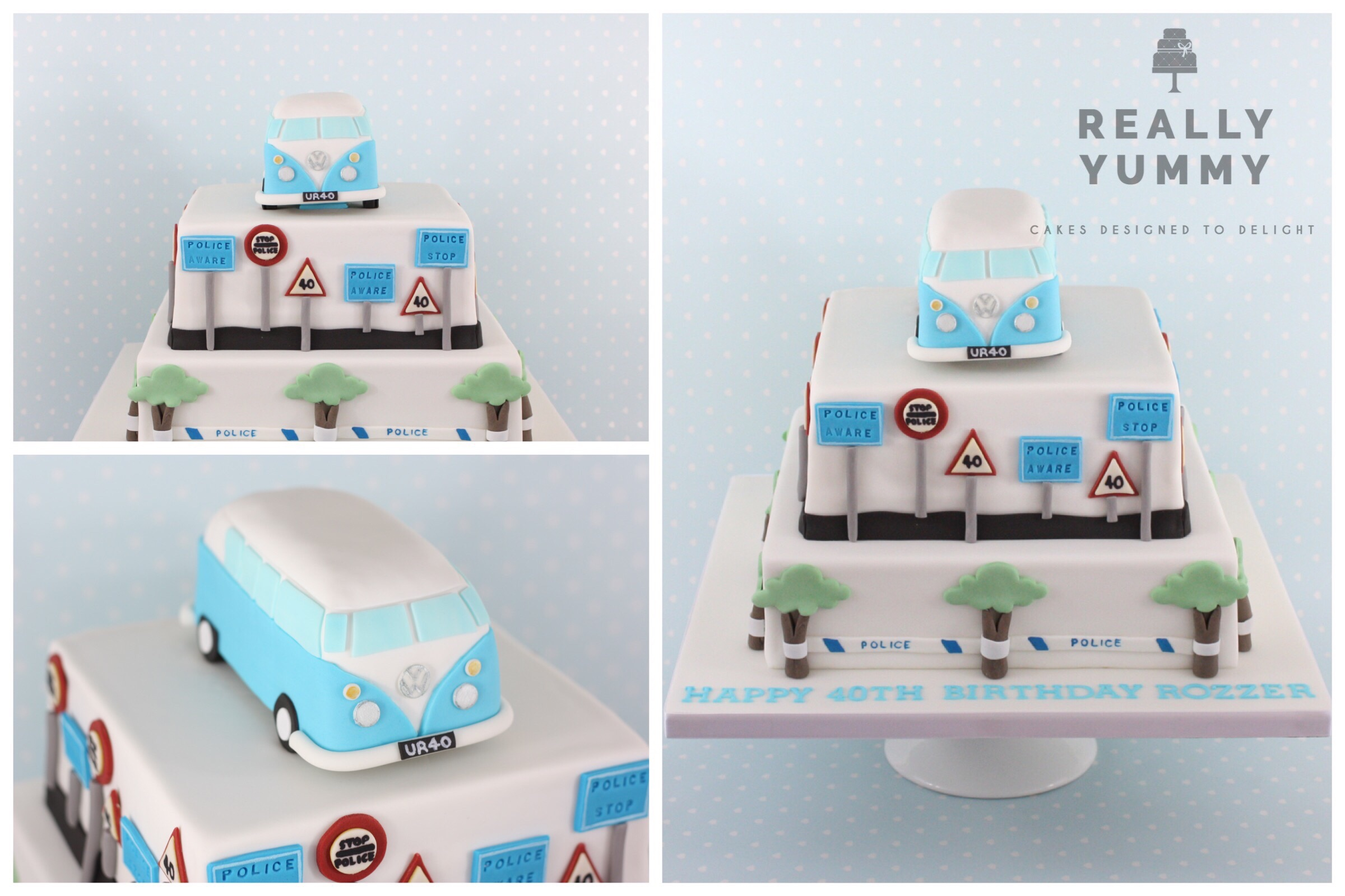 VW Campervan and Police birthday cake