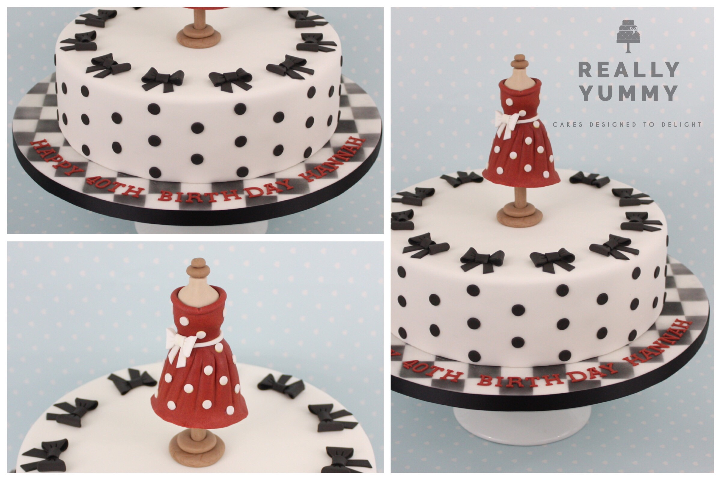 Retro dressmaker's dummy cake, with polka dots and bows