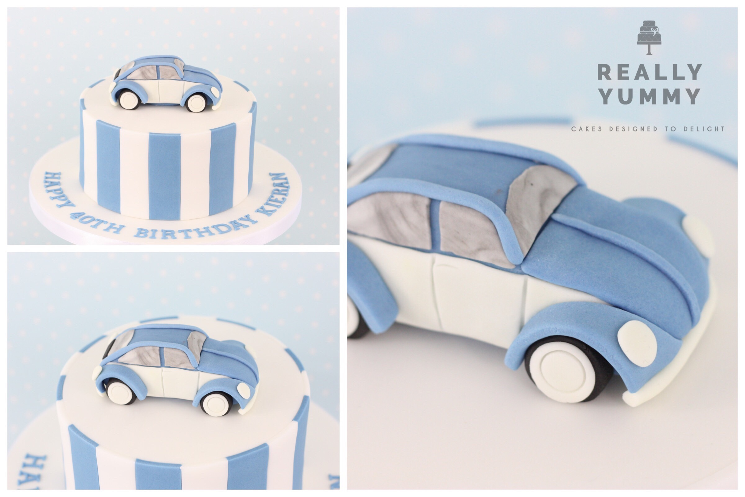VW Beetle cake, in blue and white