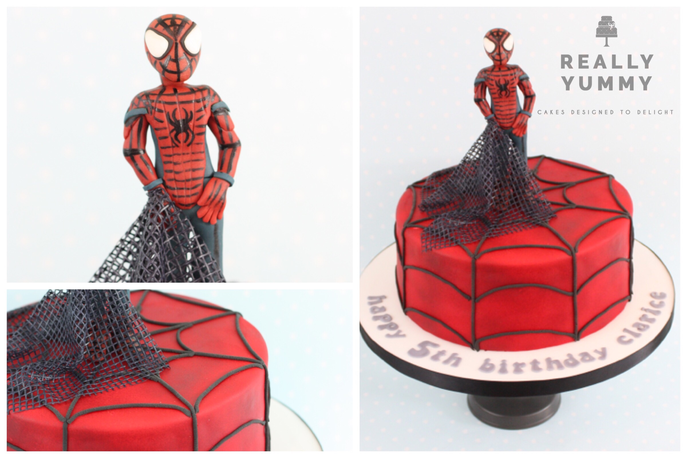 Spider Man cake, with edible web