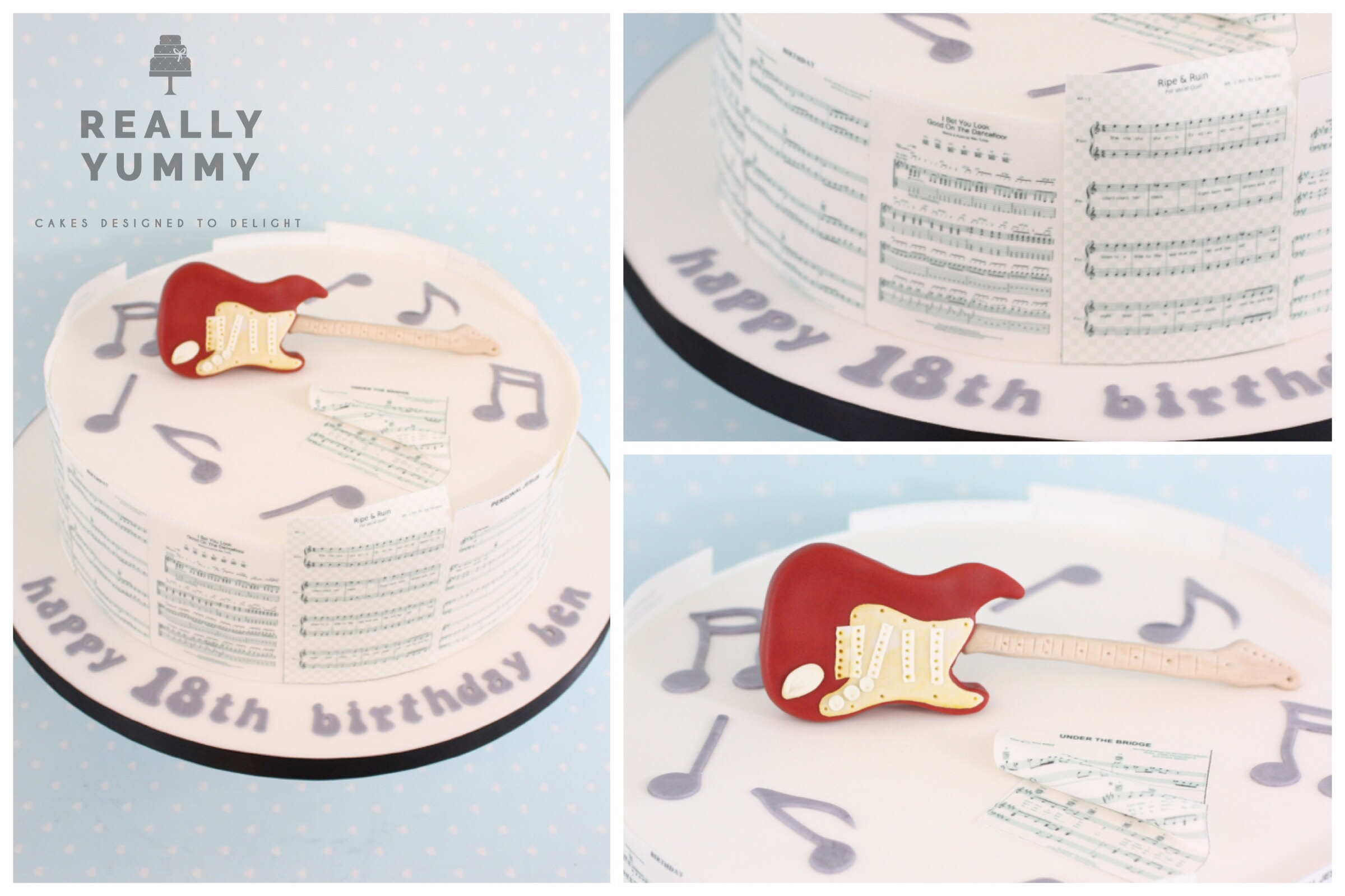 Music cake, with red guitar and edible sheet music