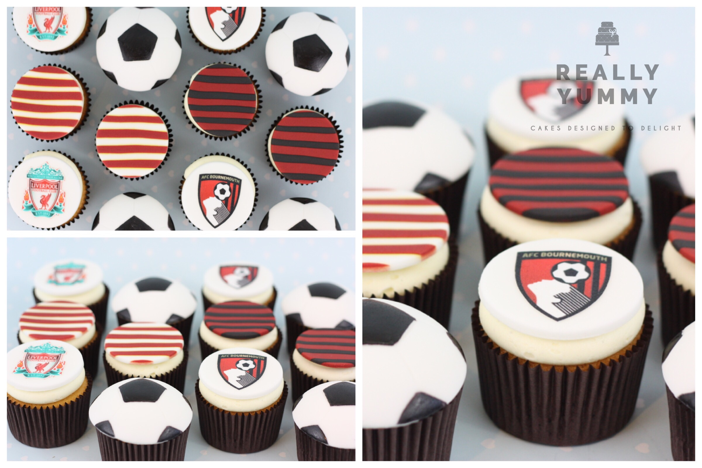 Football cupcakes, Liverpool and Bournemouth