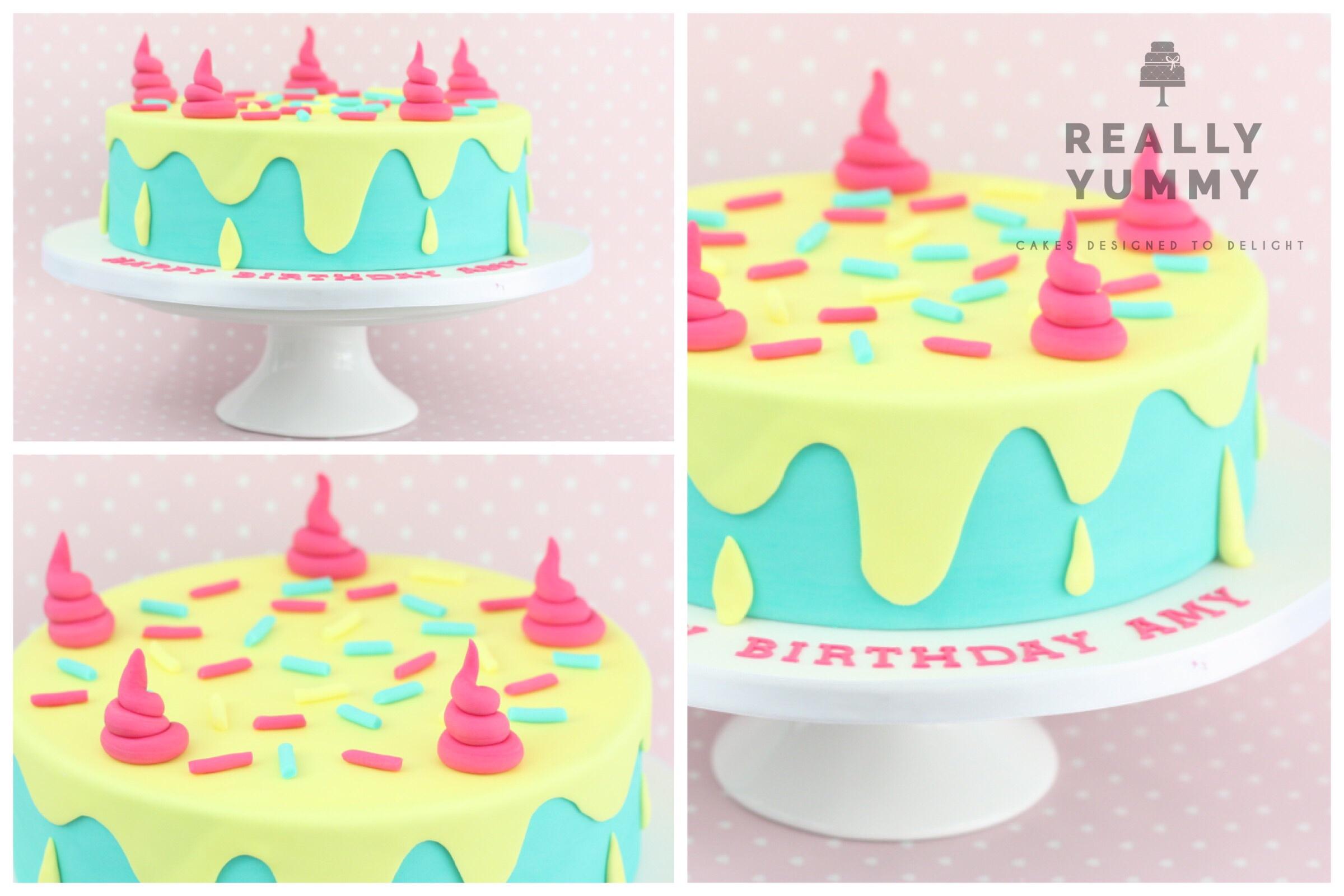 Drip cake, in bright colours