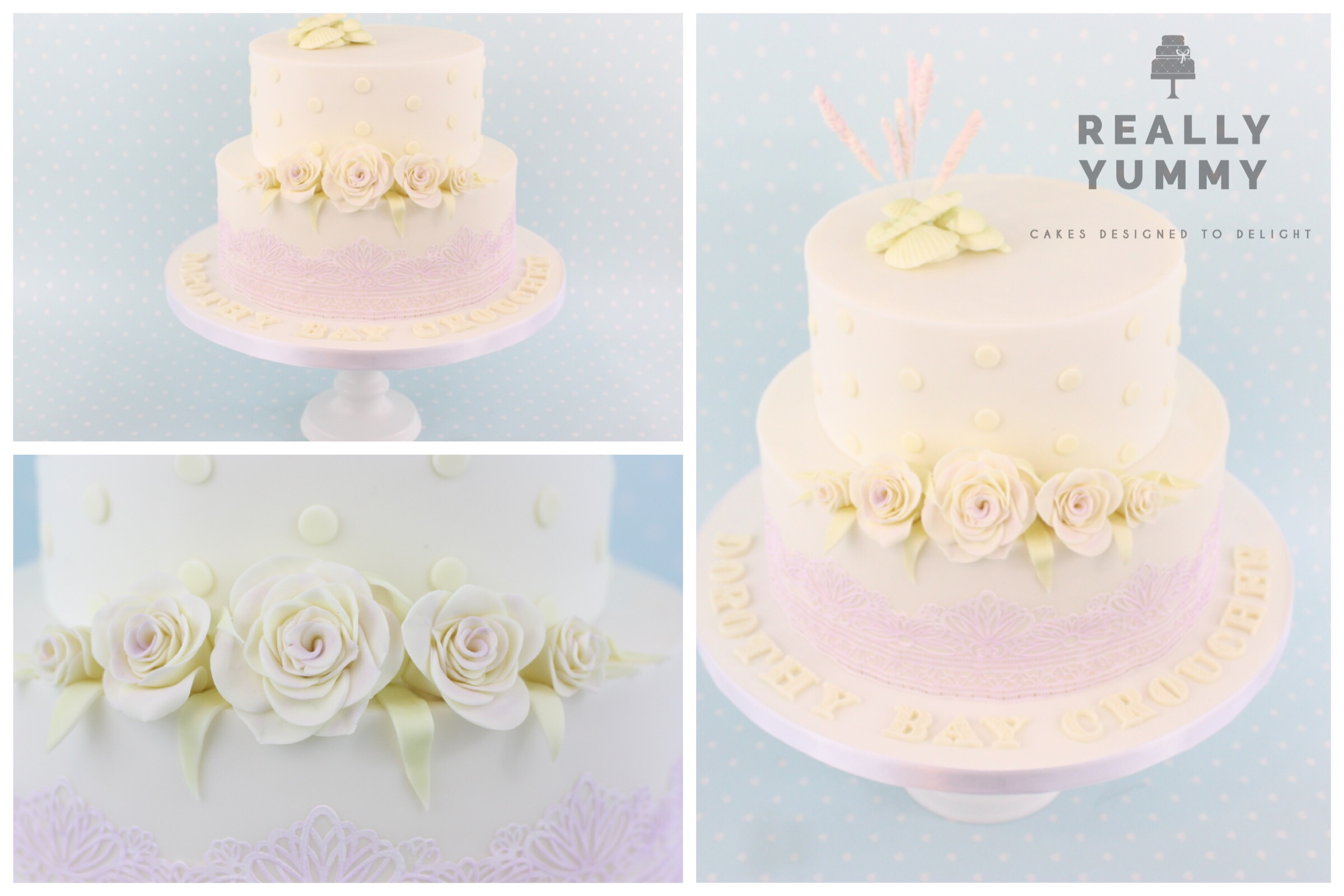 Christening cake, in lavender and sage green