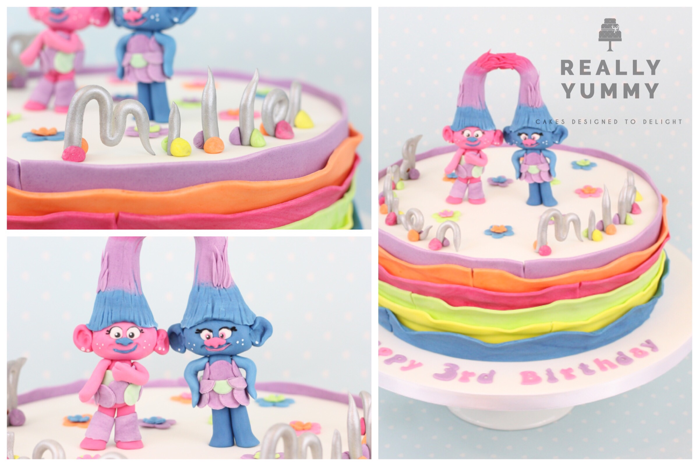 Trolls cake, with Twins topper