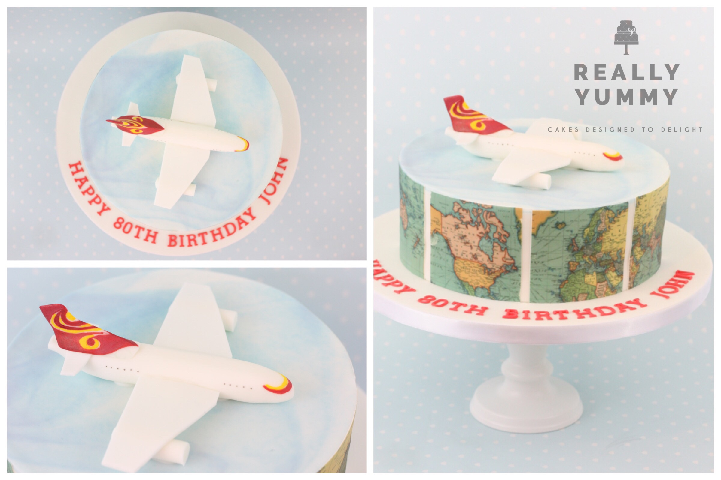 Aviation themed cake, with world maps