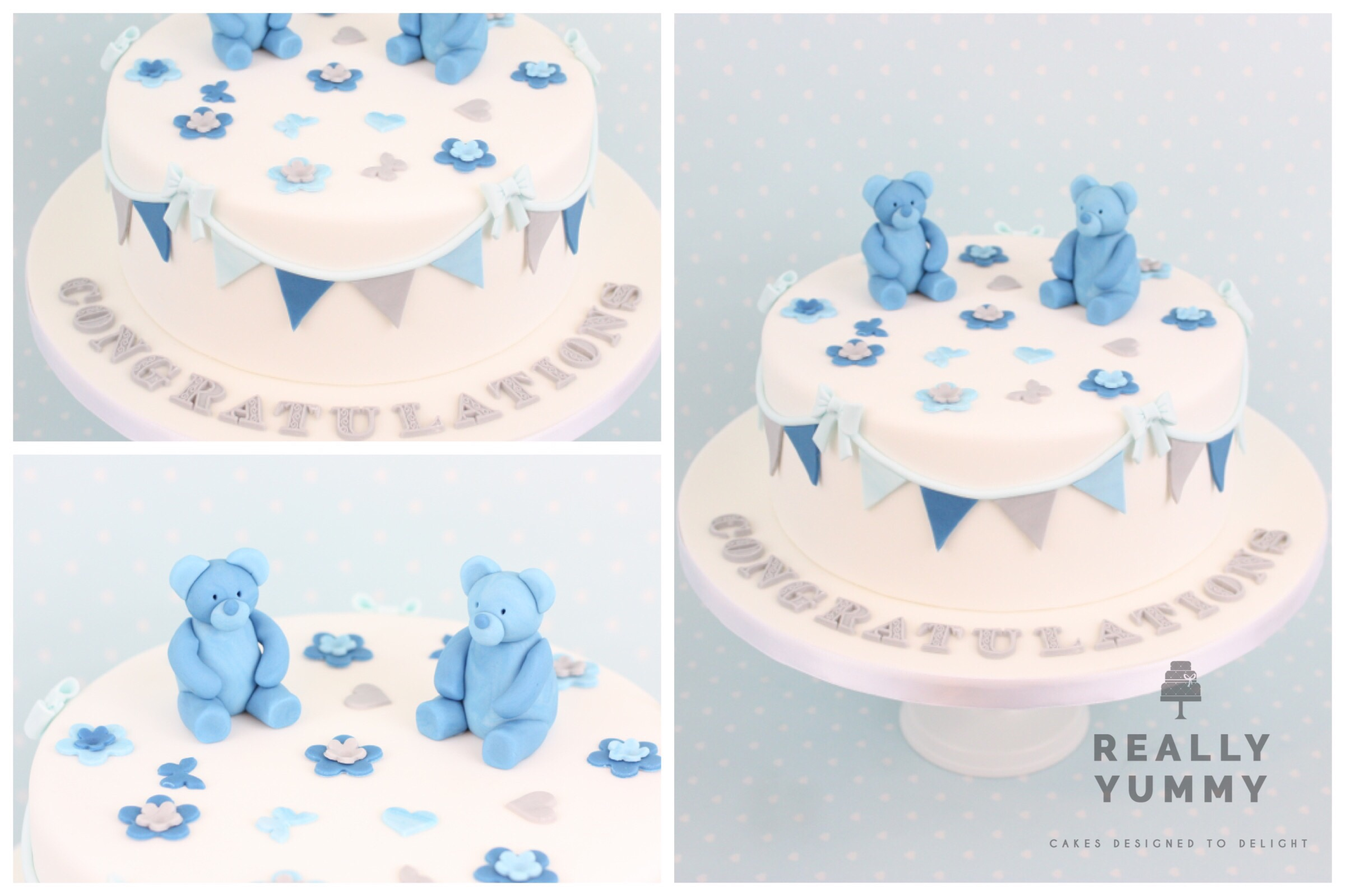 Baby shower cake, with bunting and teddies in blue