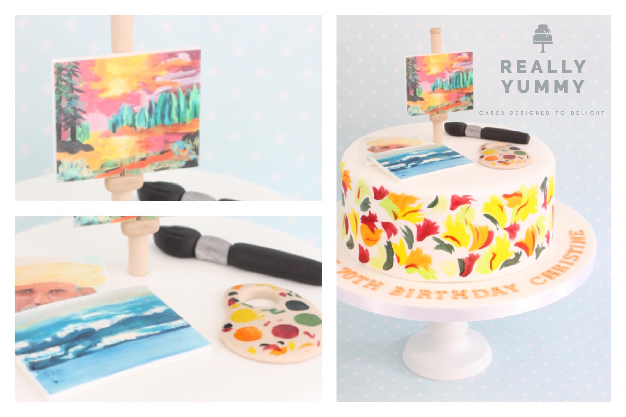 Fine Art cake in bright colours