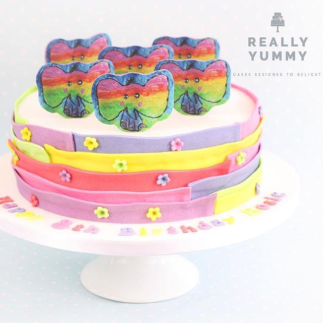Rosie painted the most gorgeous rainbow elephant, and I turned it into her birthday cake 💕 #reallyyummycakes #cakedesigner #bespokecakes #hampshirecakes #winchestercakes #cakes #winchester #hampshire #designercakes #designinspiration #designprocess #kidscakes