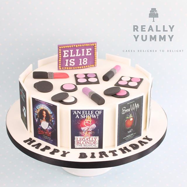 A birthday cake for a musical star! Apparently Ellie has been in plenty of musicals, and loves her makeup.... 💕 #reallyyummycakes #cakedesigner #bespokecakes #hampshirecakes #winchestercakes #cakes #winchester #hampshire #designercakes #designinspiration #designprocess #theatre #legallyblonde #sisteract #snowwhite #phantomoftheopera #makeup