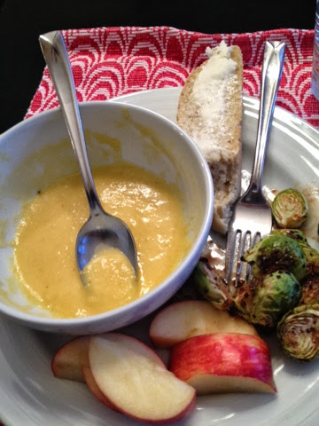 Ah, my soup. The end of the bowl. Golden yellow thanks to the Yukon golds.